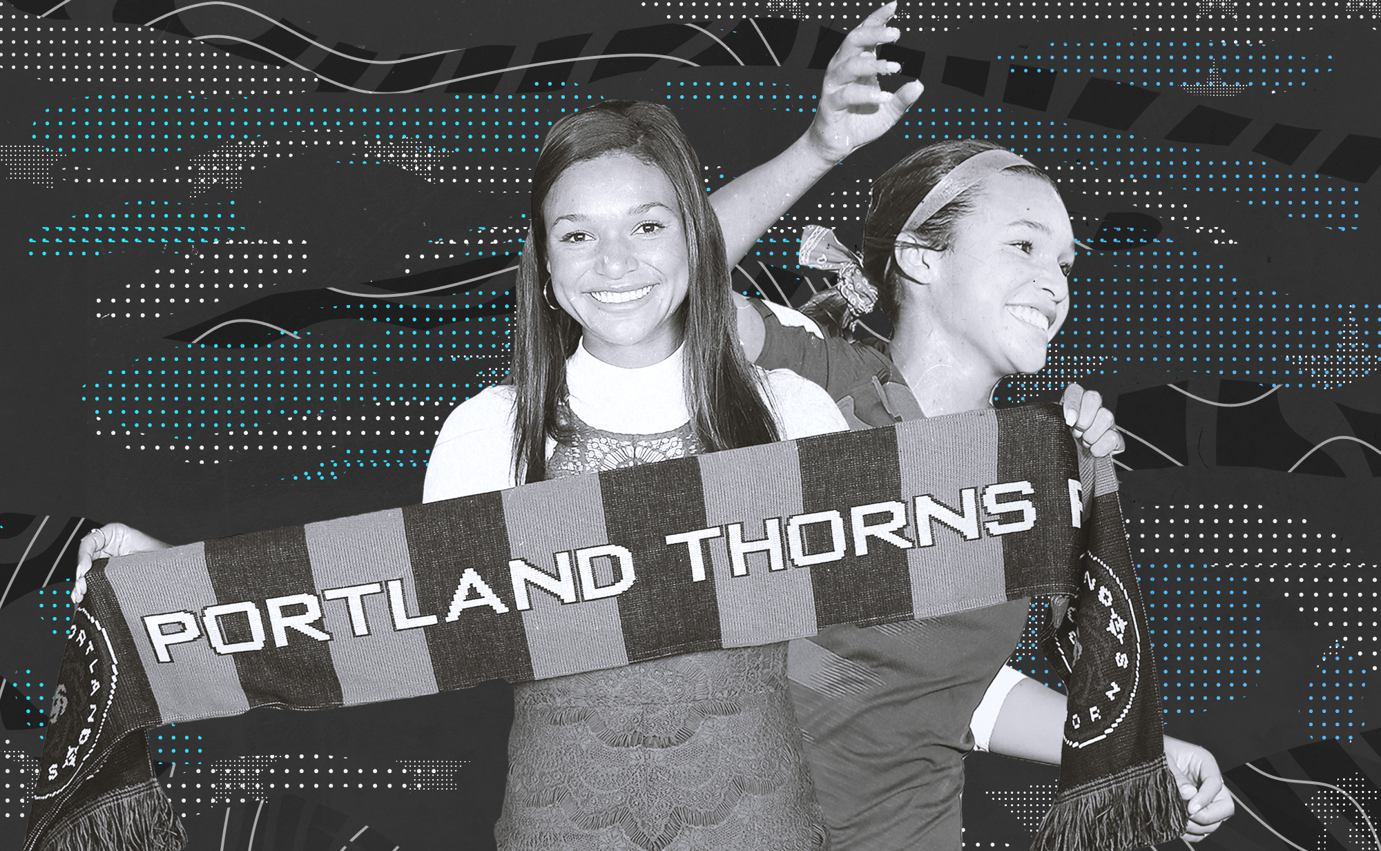 Black and white collage of Sophia Smith holding a Portland Thorns banner after being drafted No. 1 overall, and Smith celebrating during a national team match.