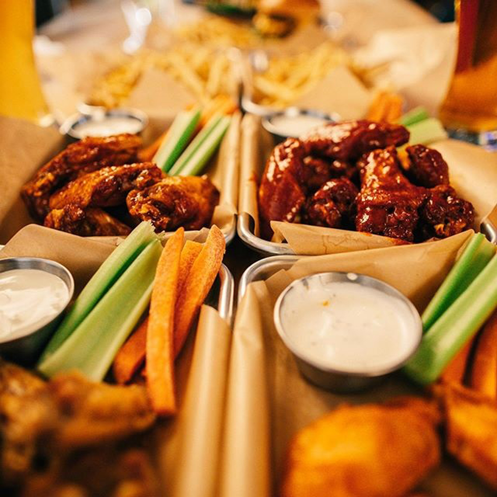 Wings, fries and burgers from the bar food menu at Buffalo Wild Wings, coming later this year to Mandalay Bay.
