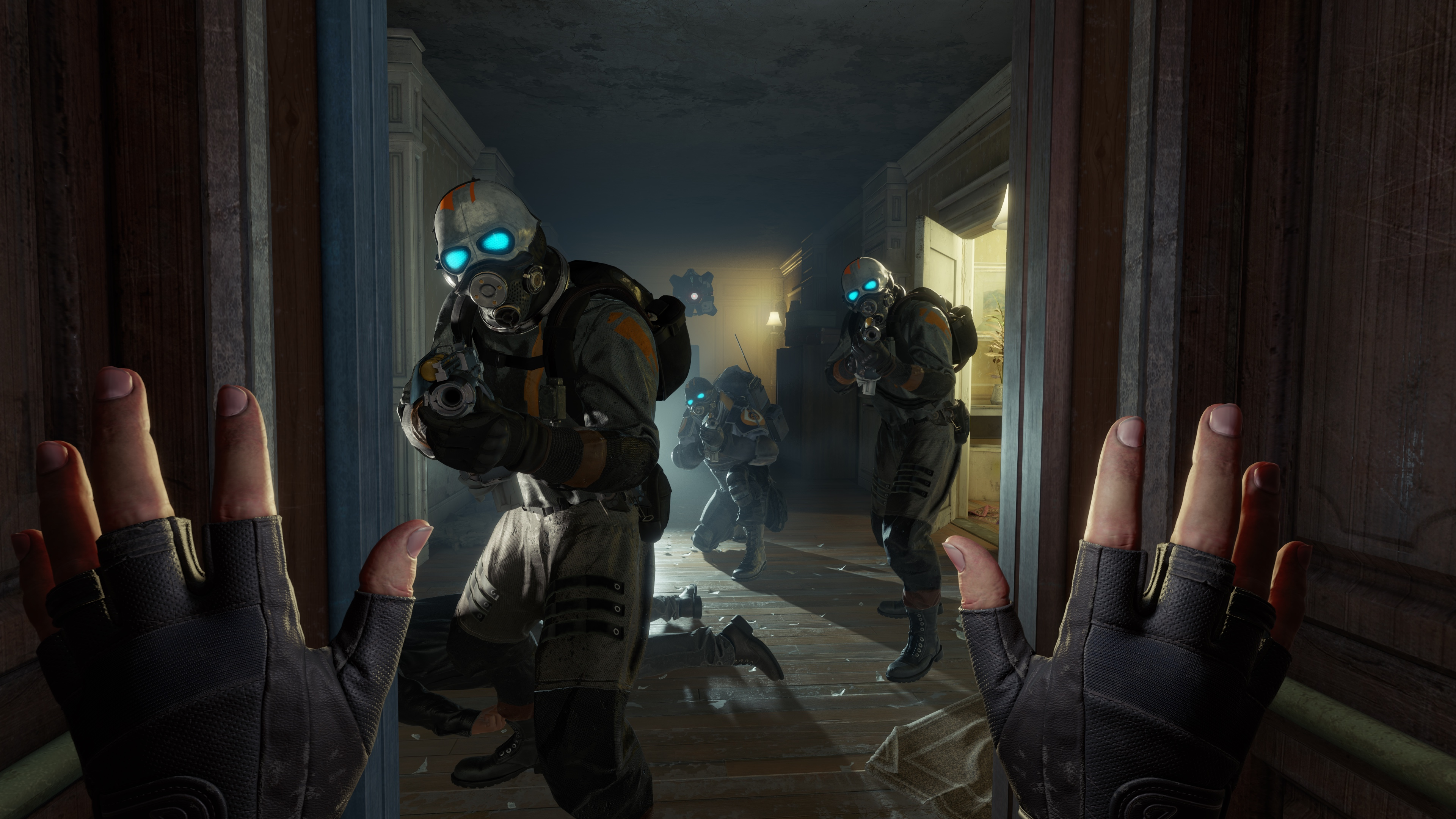 A first-person view of three Combine soldiers aiming at the player with their hands up