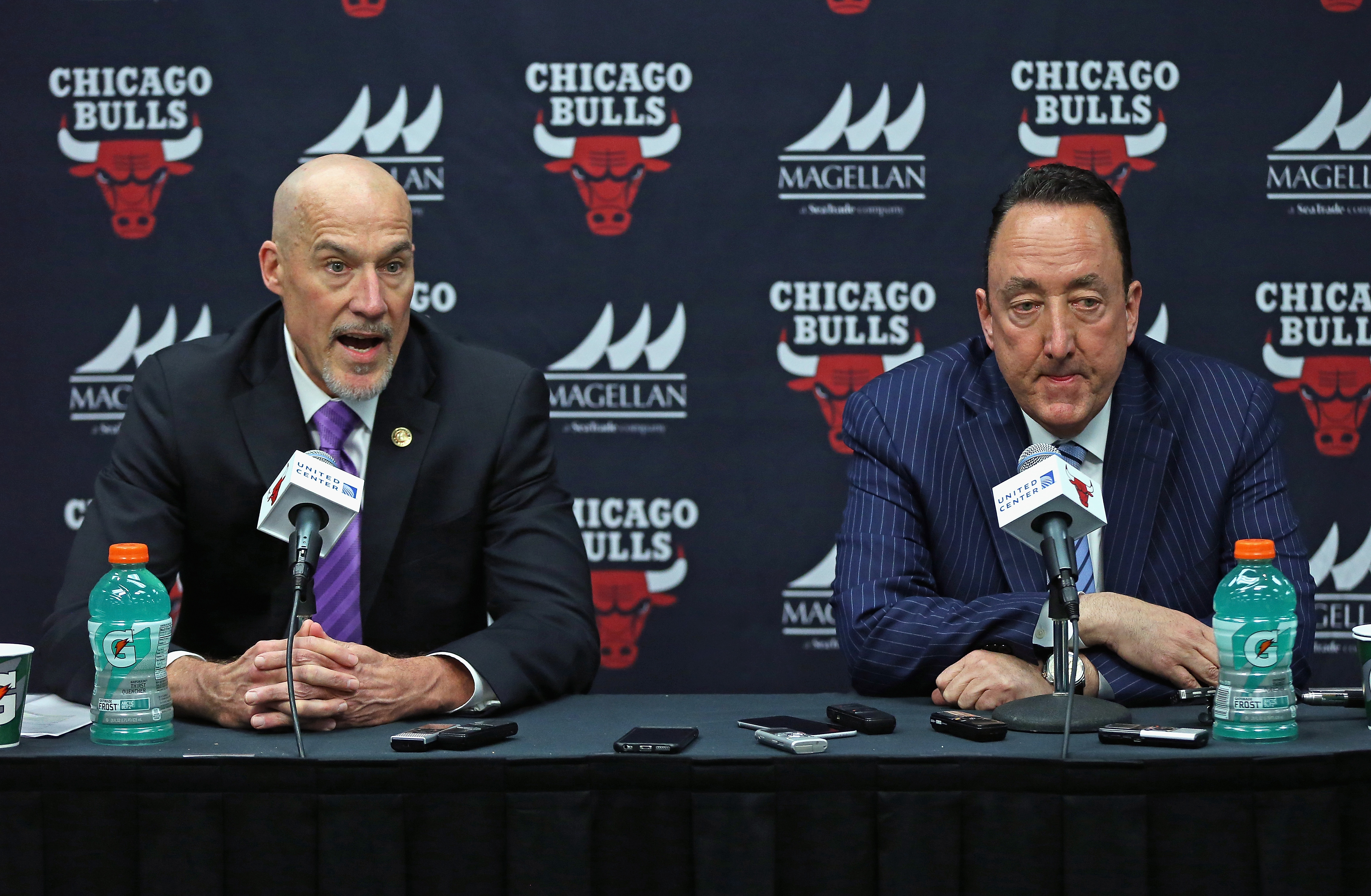 There have been rumblings that change is coming to the Bulls' front office, which includes vice president John Paxson (left) and general manager Gar Forman. Should you dare believe it?