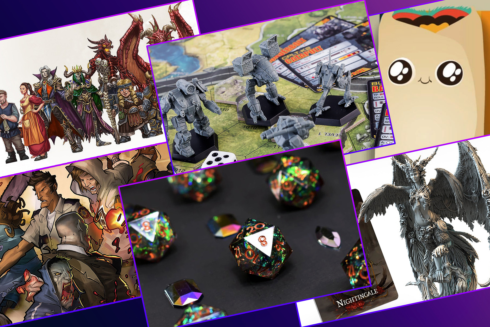 A graphic grid featuring six images from tabletop games on Kickstarter