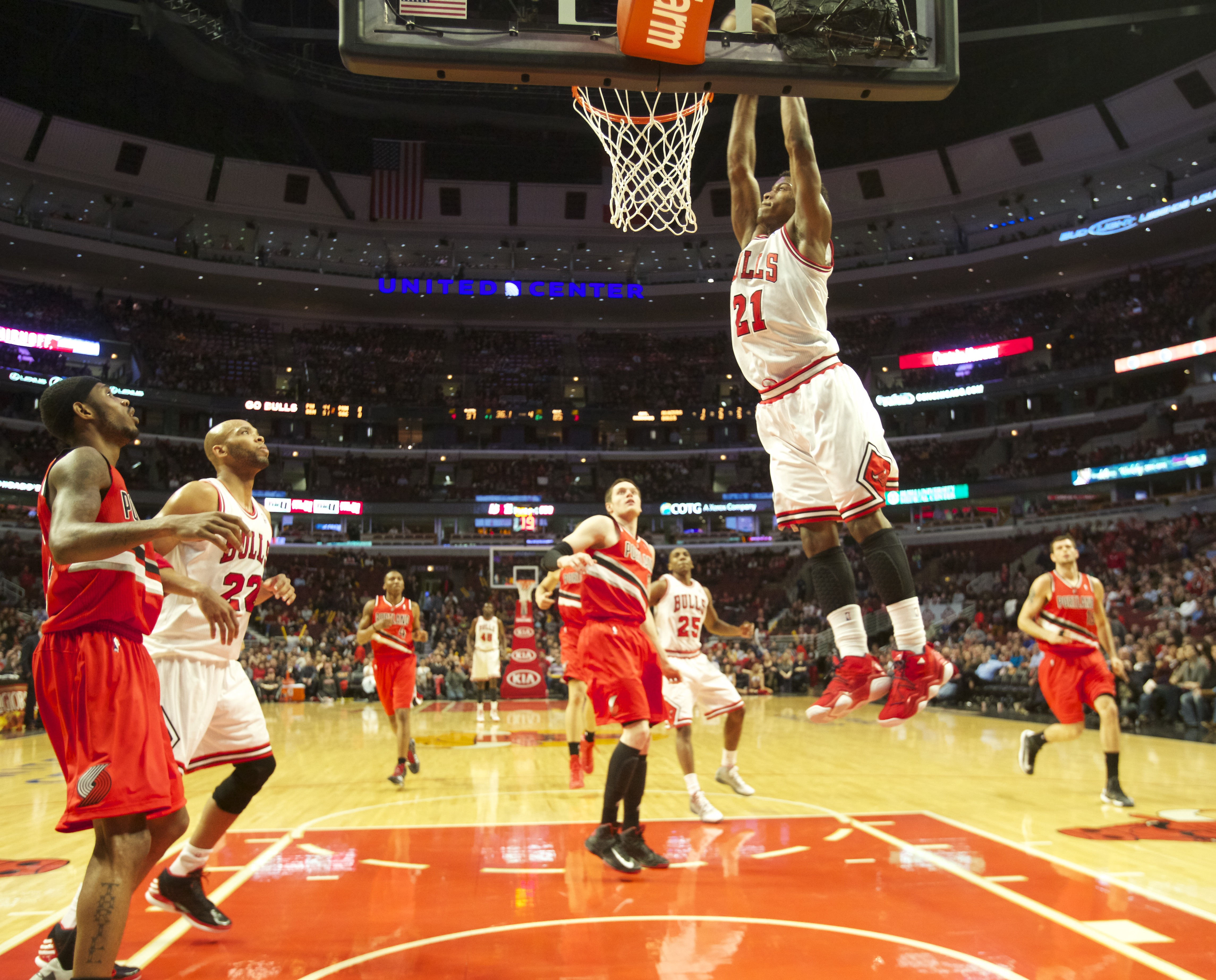 Former Bulls guard Jimmy Butler (21, slam-dunking against the Trail Blazers in 2013) made the playoffs with the Bulls in 2016-17, the Timberwolves in 2017-18 and the 76ers in 2018-19. He is averaging 20.2 points, 7.0 rebounds and 6.4 assists for the Heat this season.