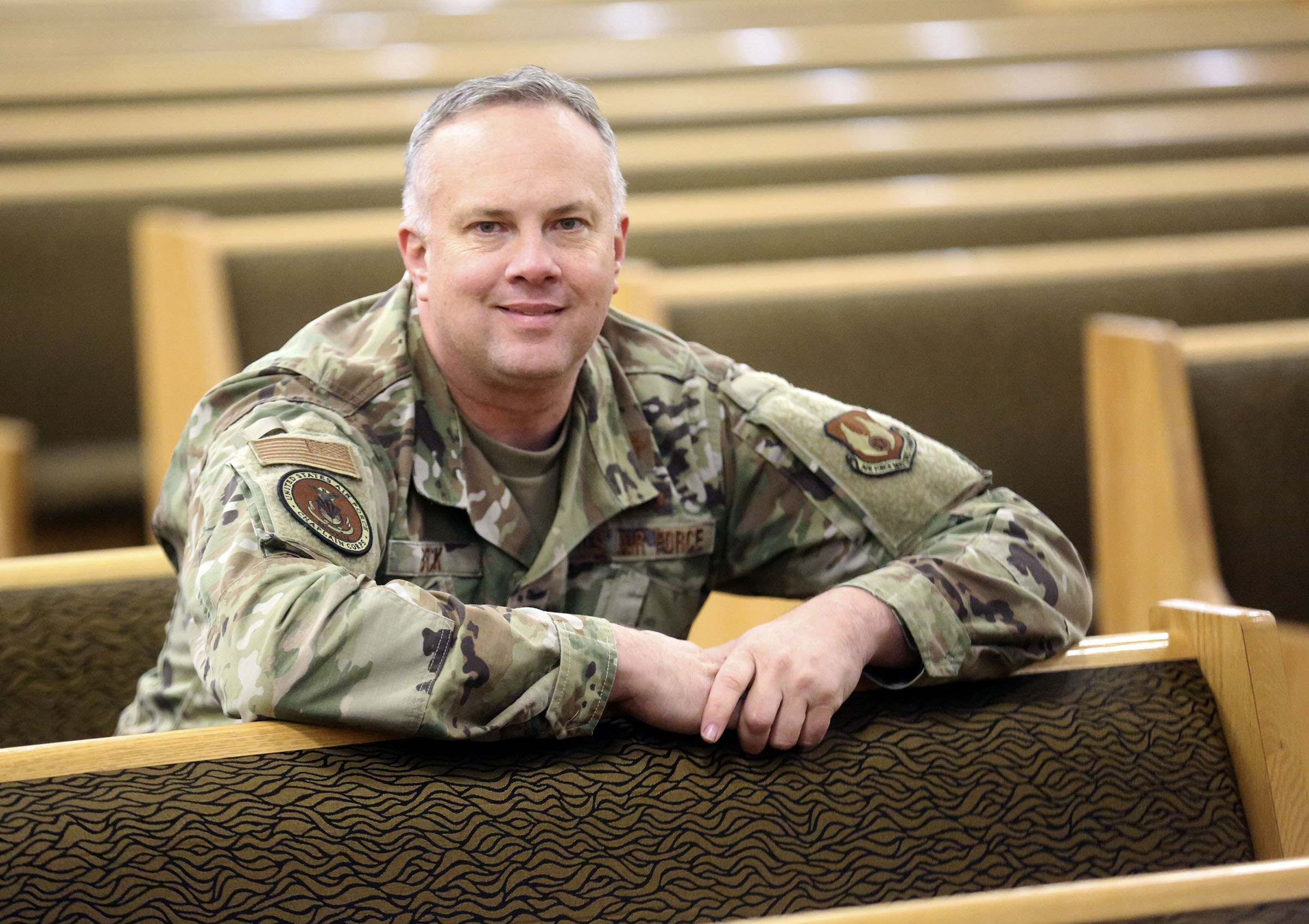 Lt. Col. Zebulon Beck, Hill Air Force Base wing chaplain, poses for a portrait in the base's sanctuary on Monday, Oct. 28, 2019.
