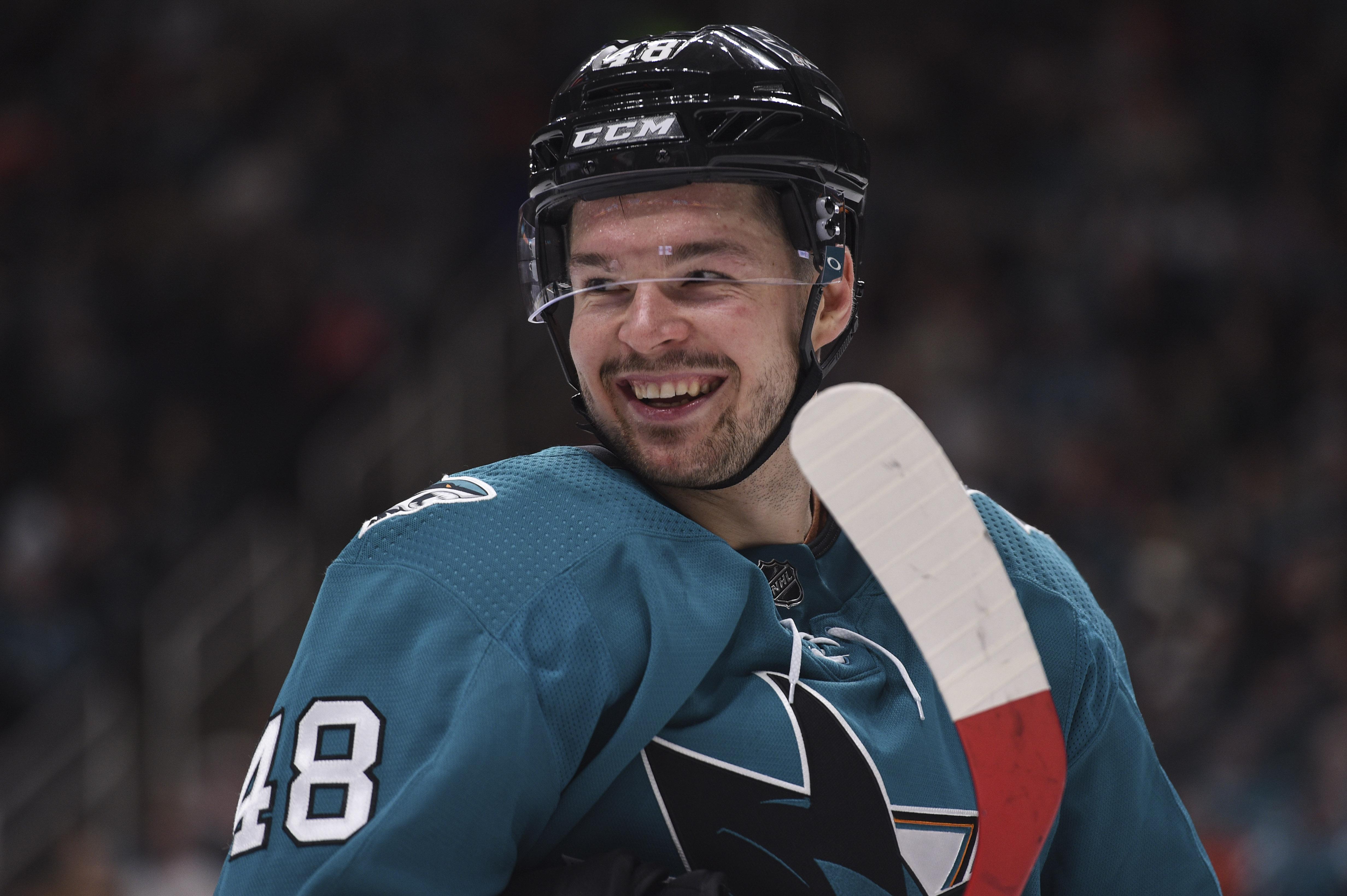 Dec 28, 2019; San Jose, California, USA; San Jose Sharks center Tomas Hertl (48) during the third period against the Philadelphia Flyers at SAP Center in San Jose
