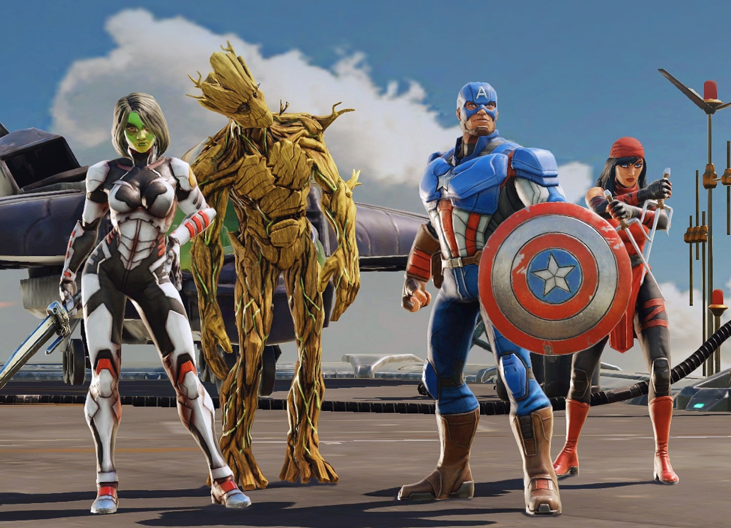 Gamora, Groot and Captain America in Marvel Strike Force