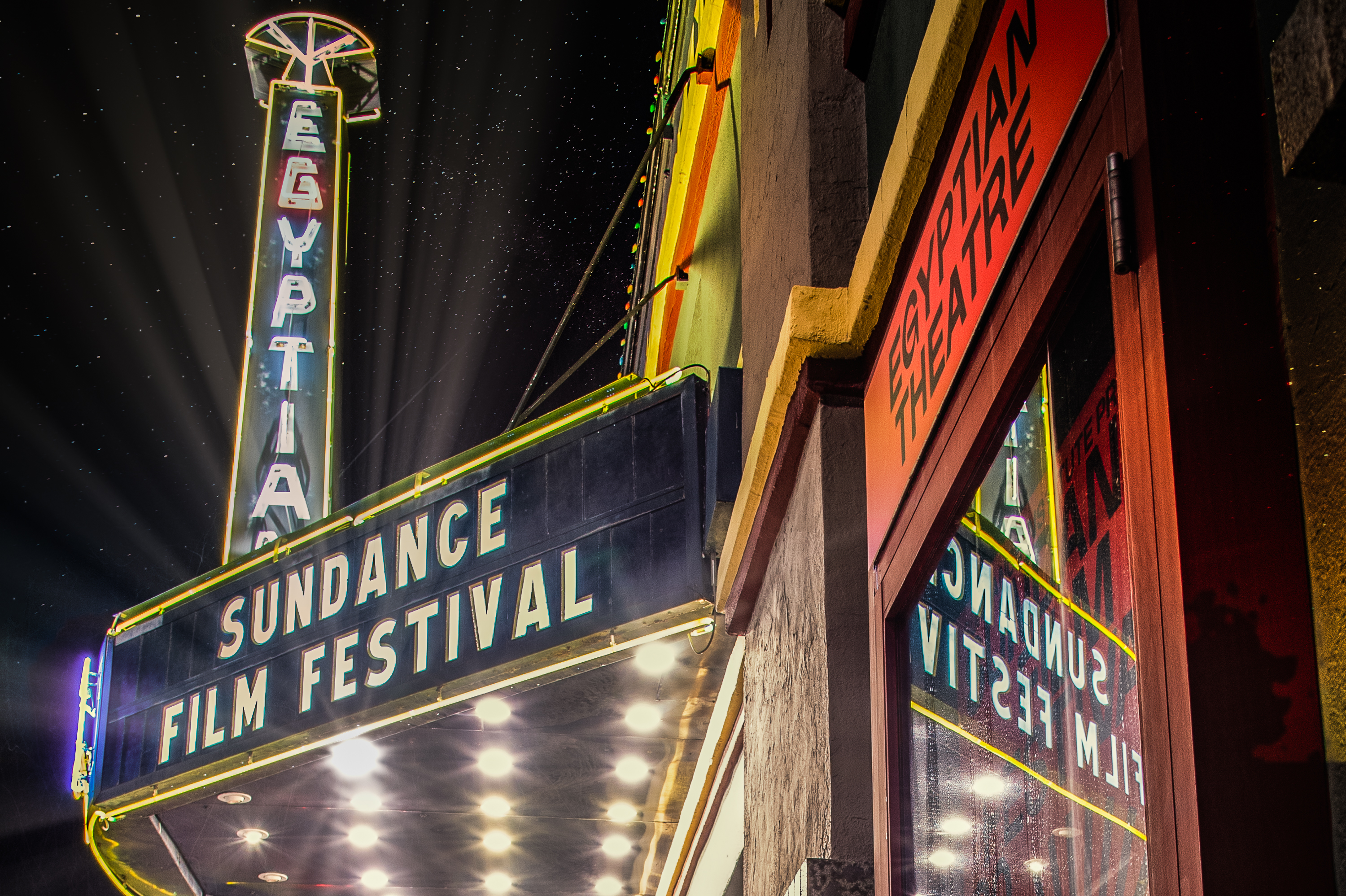 a photo of the Egyptian Theater marquee at night saying Sundance Film Festival