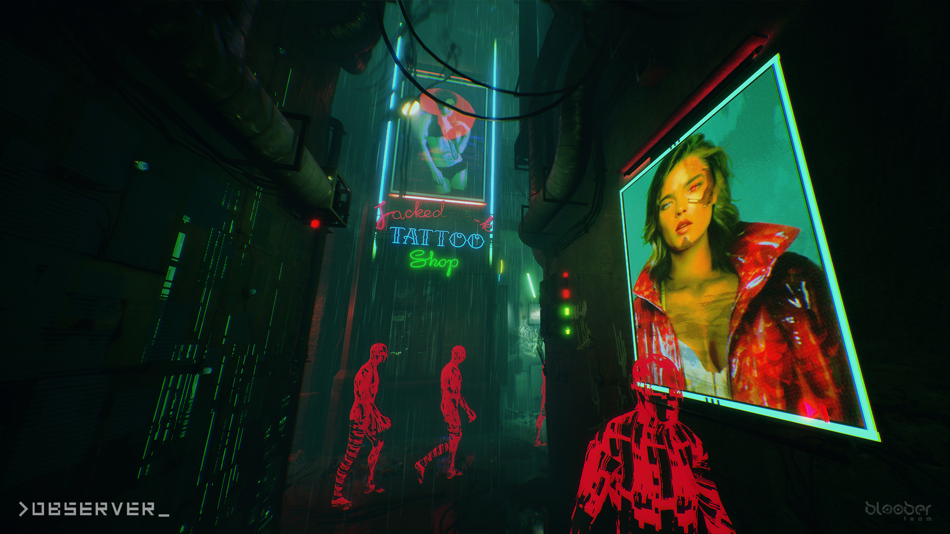 A dark alley with cyberpunk-style billboards and red ghostly figures in a screenshot of Bloober Team's Observer