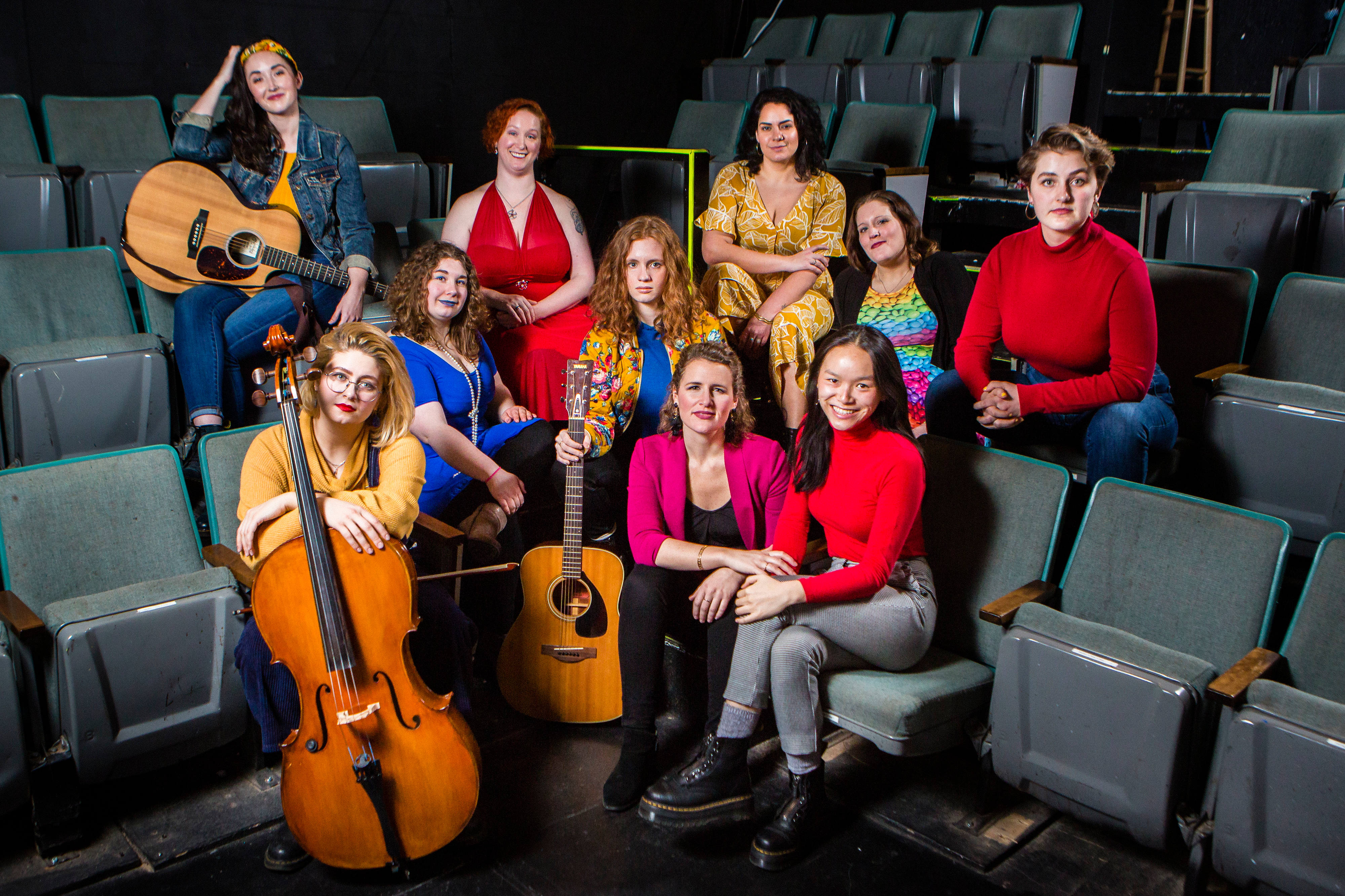 Director Emi Lee Frantz (front row, second from right) and a few of the cast members of LezSing Cabaret are photographed at The Broadway at the Pride Arts Center. Top row: Rebecca Rowland, Casey Daniel, Emily Barnash, Miki Byrne, Mary-Helen Pitman. Front row: Taylor Danae, Chloe Adamo, Jacqui Jaurena, Emi Lee Frantz and Catherine Muller.