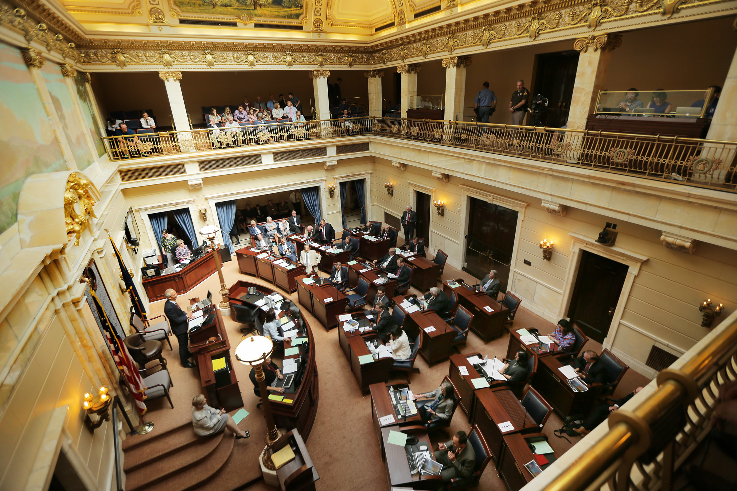 Members of the Senate gather for a special session of the Legislature at the Capitol in Salt Lake City on Wednesday, July 18, 2018.