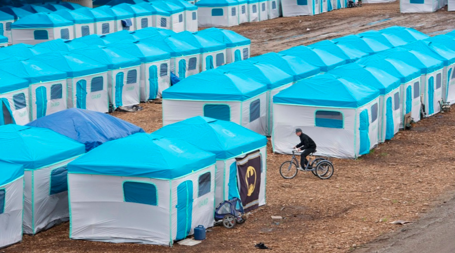 Rows of white and blue tents in a bare dirt field. One person is riding a bike between tents.