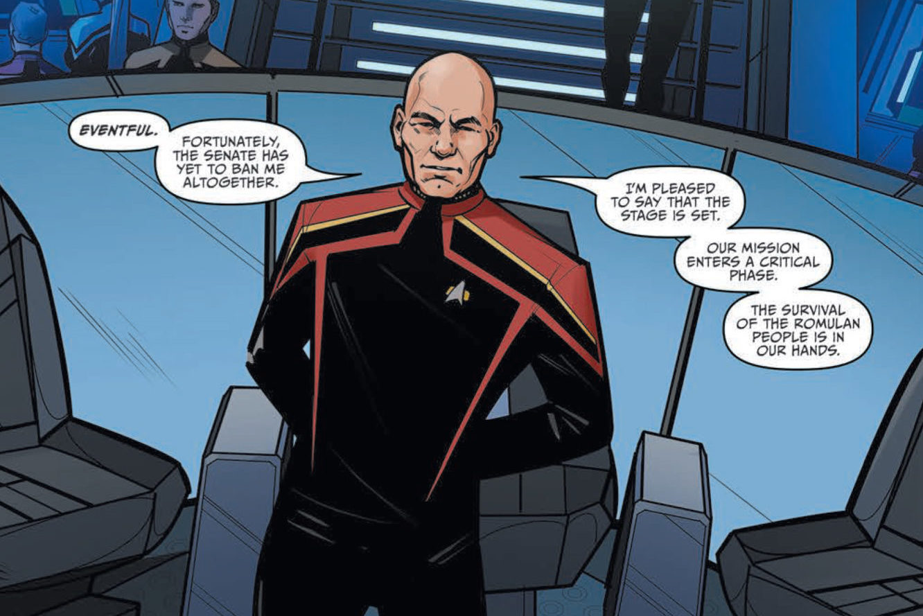 Admiral Jean-Luc Picard on the bridge of his ship the Verity in Star Trek: Picard - Countdown #1, IDW Comics (2019).
