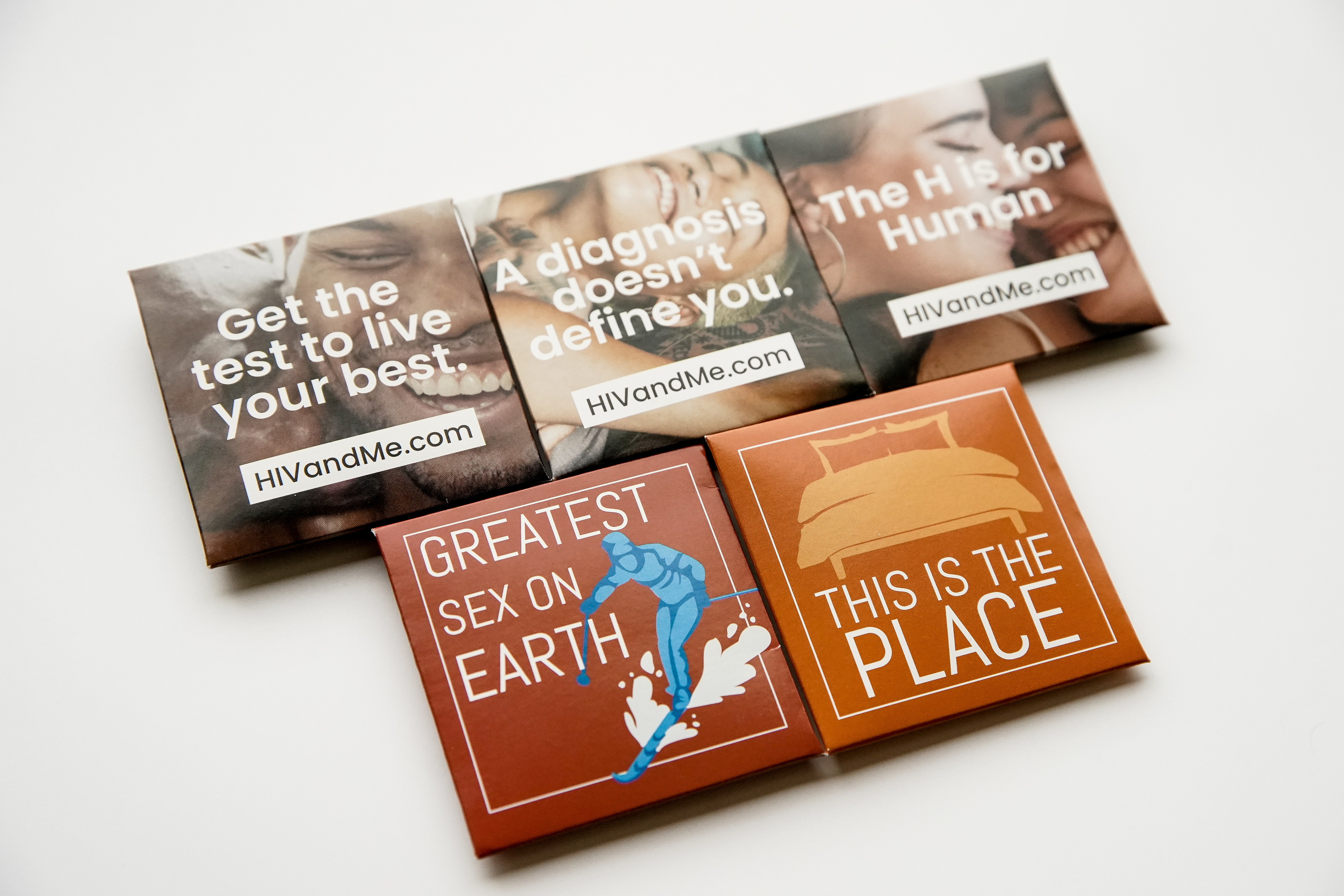 Condom packages developed by the Utah Department of Health for an HIV awareness campaign are pictured in Salt Lake City on Thursday, Jan. 16, 2020. Gov. Gary Herbert asked the department to stop distributing thecondomsbecause they contain potentially offensive slogans.