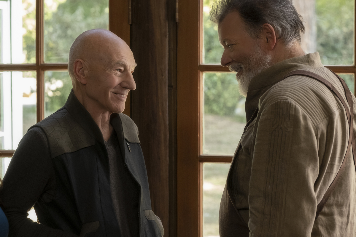Pictured (l-r): Patrick Stewart as Picard; Jonathan Frakes as Riker of the the CBS All Access series STAR TREK: PICARD.