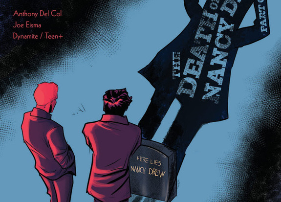 The Hardy Boys stand in front of Nancy Drew's grave in cover art for Dynamite Comics' The Death of Nancy Drew (2020).
