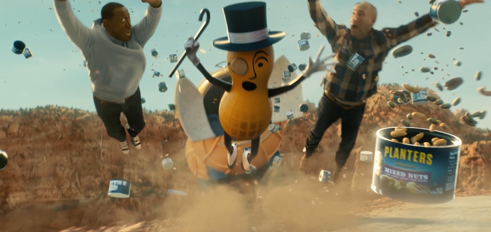 MR. PEANUT Passes Away at 104 Years Old, Sacrificing Himself to Save Friends Matt Walsh and Wesley Snipes in New Super Bowl Pre-Game Ad