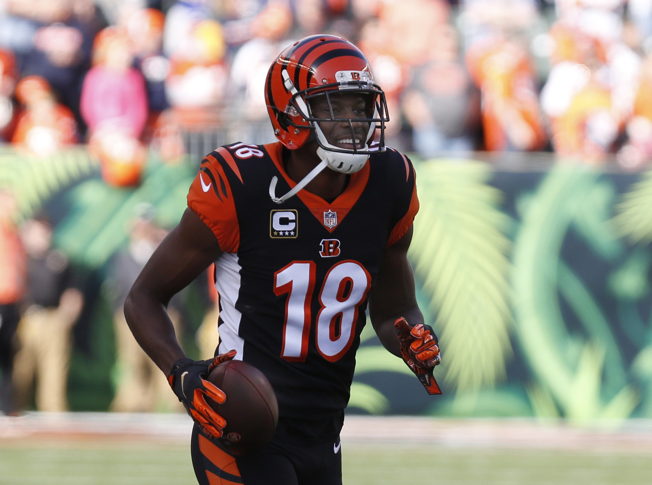 Cincinnati Bengals wide receiver A.J. Green warms up prior to a game against the Denver Broncos at Paul Brown Stadium.
