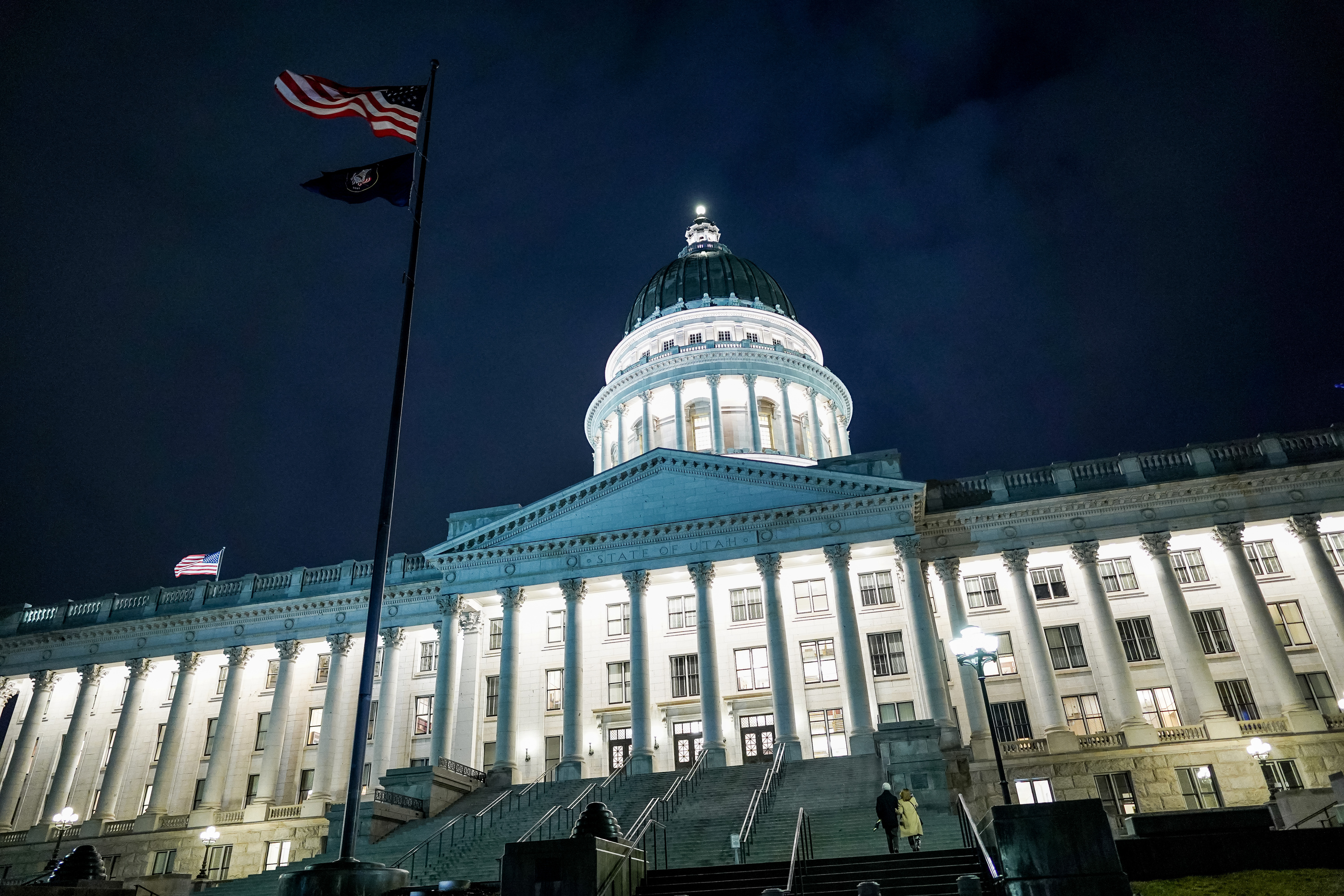 The Capitol in Salt Lake City is illuminated as the Legislature meets in a special session to consider tax reform on Thursday, Dec. 12, 2019.