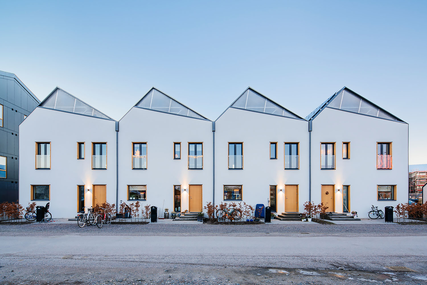 Modern prefab row houses embrace solar power