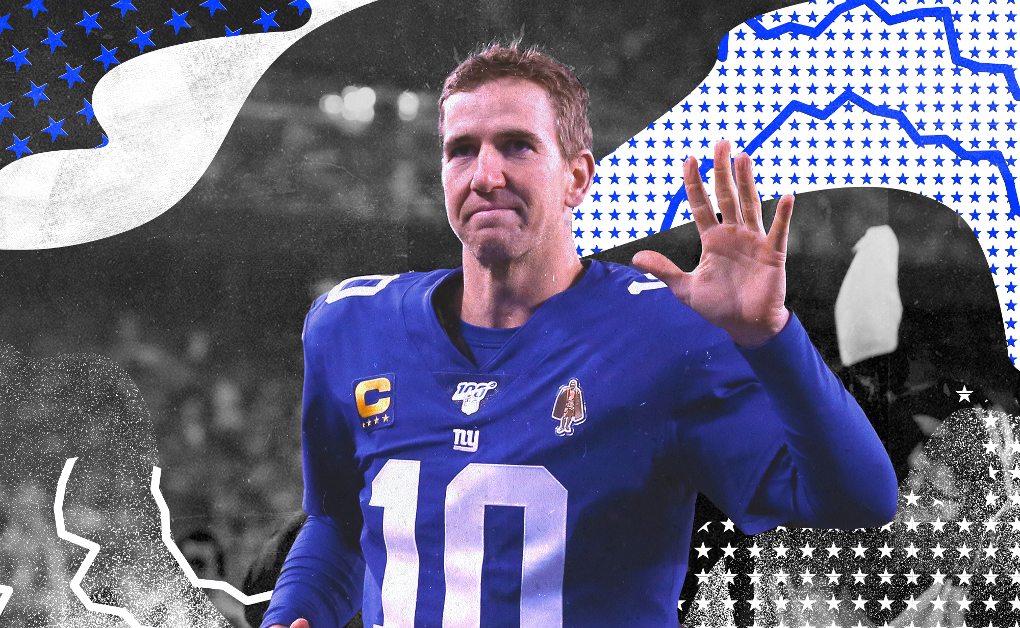 Giants QB Eli Manning waves to the crowd in his final NFL game, superimposed on a blue, gray, and white background with stars