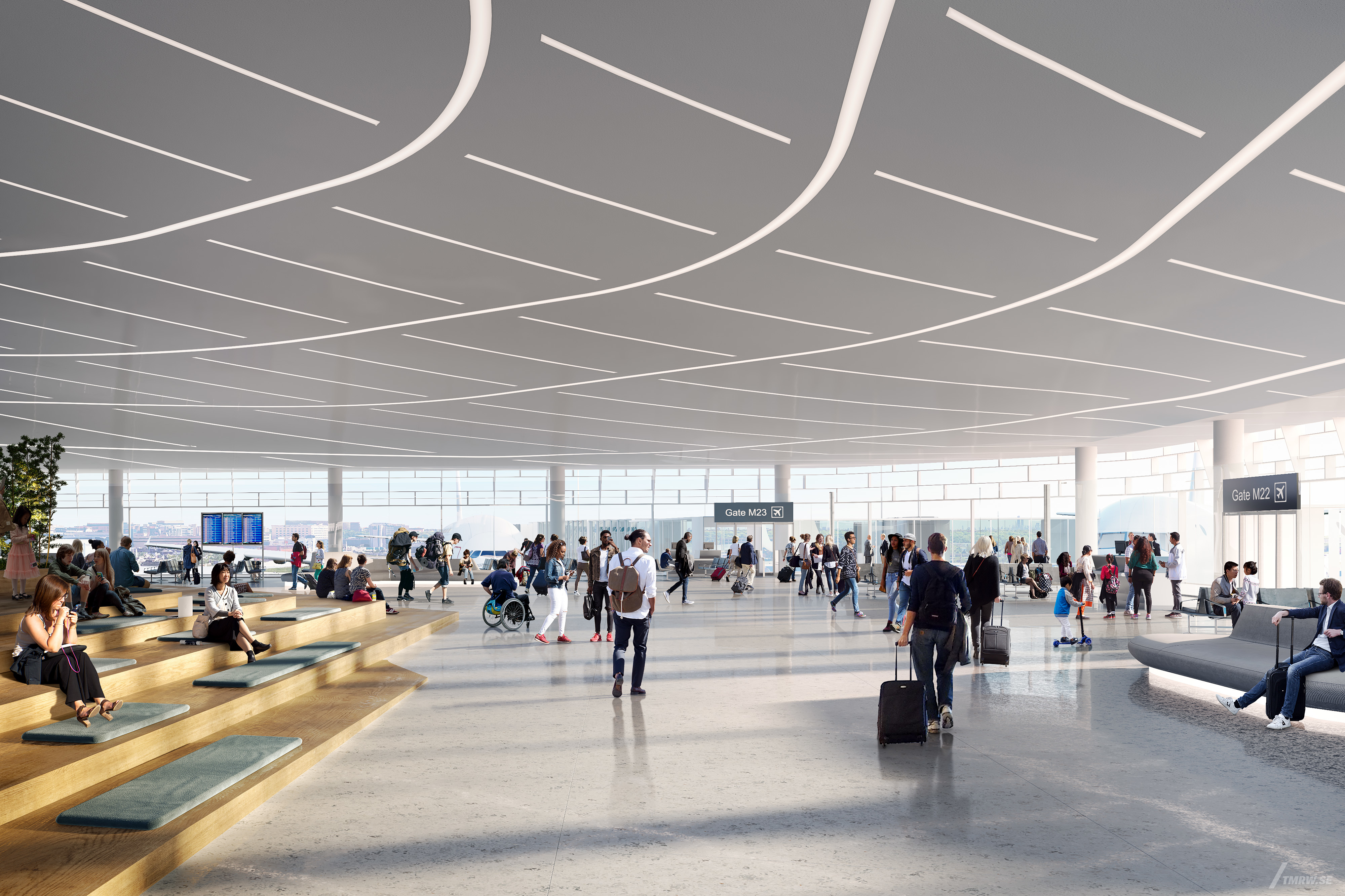A rendering of the new global terminal at O'Hare Airport.