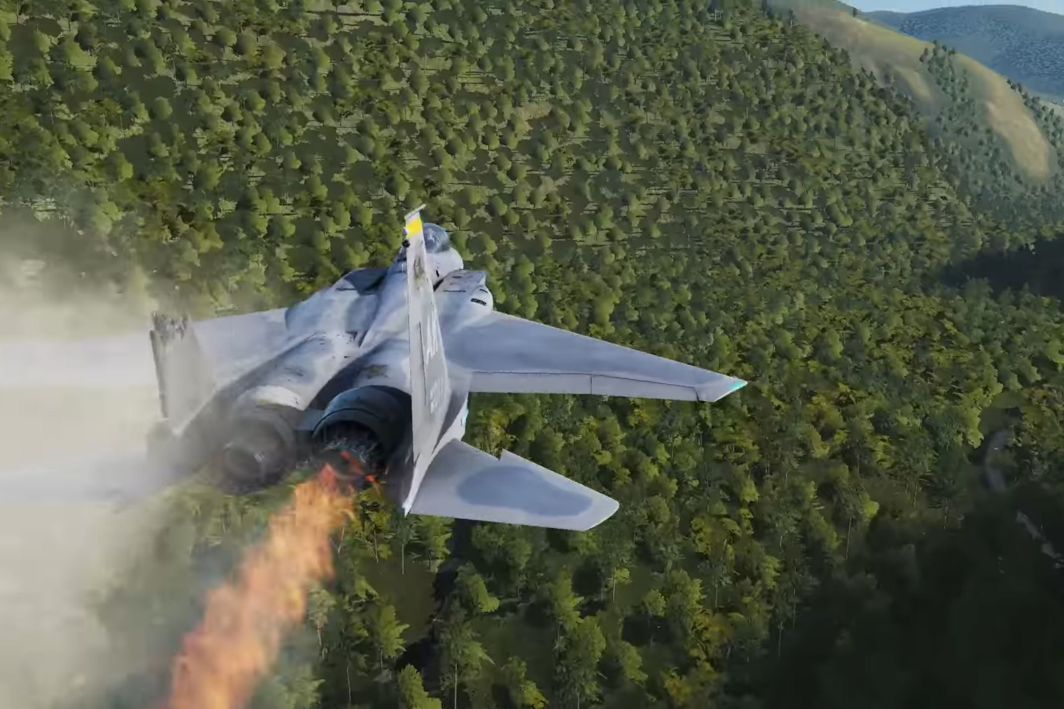 An F-15 nears the end of its run in the Valley of Death with the Grim Reapers community. It's the target of multiple radar-guided AAA batteries, missing several control surfaces, and currently on fire.