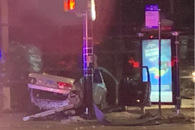A silver Honda Accord crashed in the 4400 block of North Western Ave on Tuesday, after fleeing from a shooting outside a Logan Square funeral home. Prosecutors say Marcial Arriaga was found pinned inside and alleged gunman Josue Becerra fled the scene.