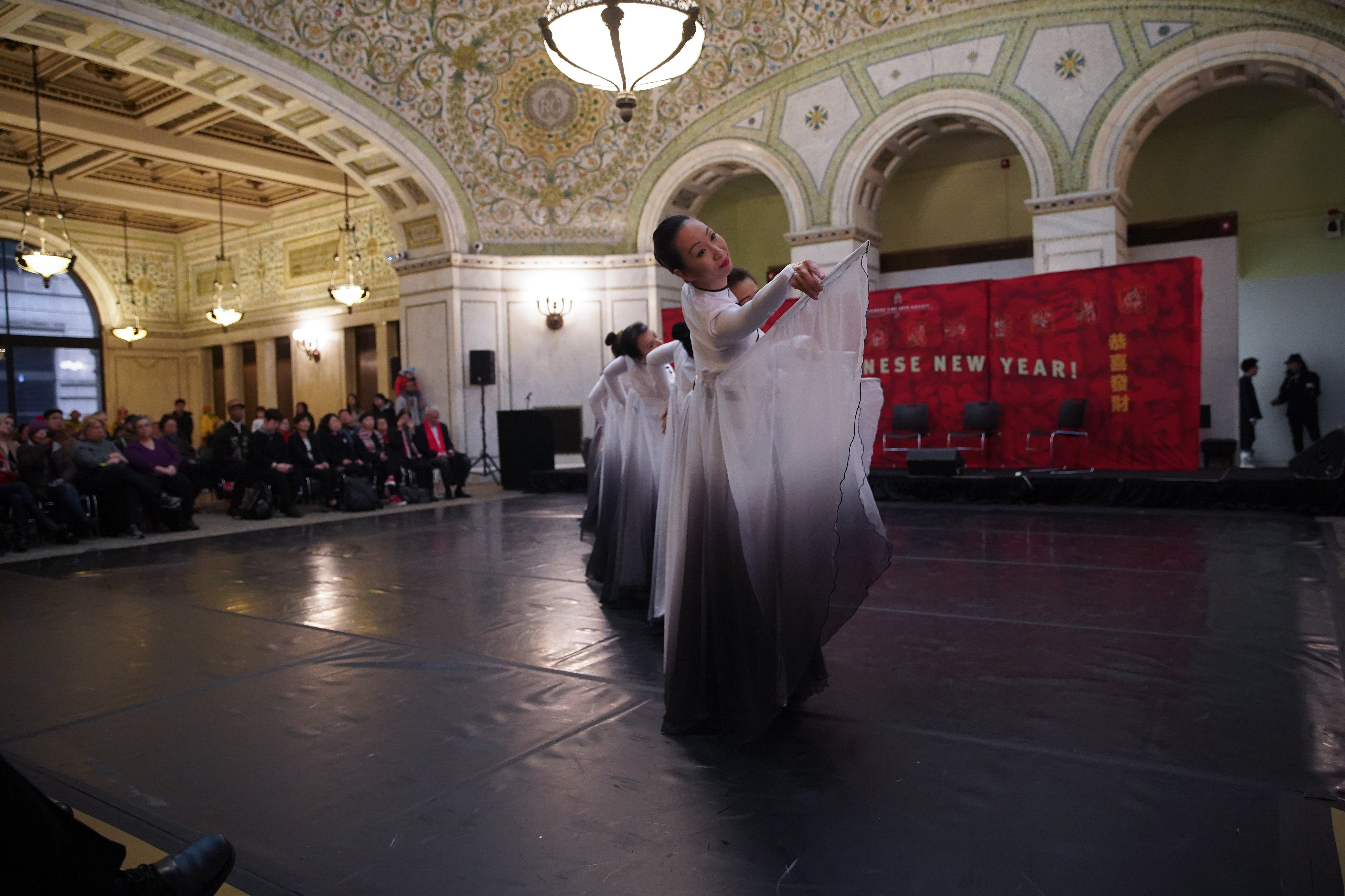 The Flying Fairies Dance Troupe performs at the Chicago Cultural Center's Lunar New Year celebration Friday.