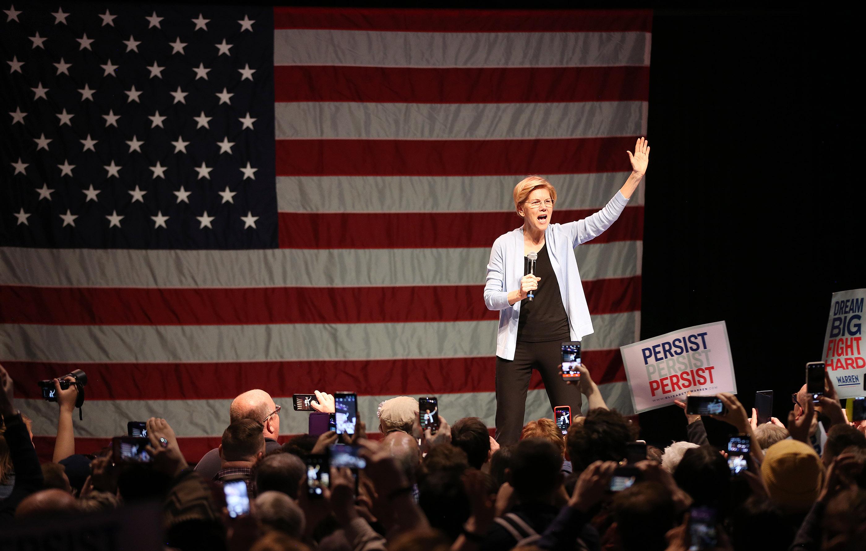 Sen. Elizabeth Warren, D-Mass., speaks in Salt Lake City on Wednesday, April 17, 2019.