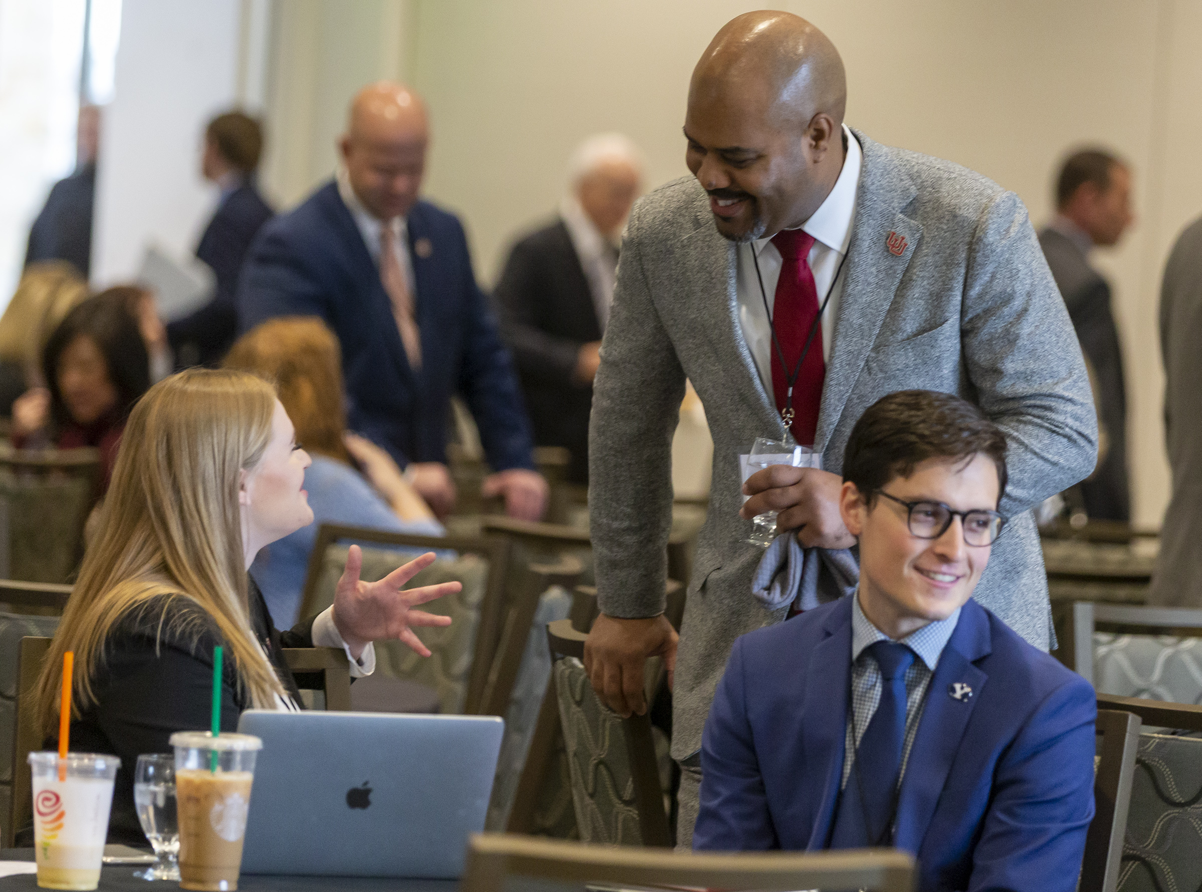 Annamarie Barnes, University of Utah student body president, talks with Marlon Lynch, chief safety officer at the U., prior to a student safety forum at the Alumni House on the U. campus in Salt Lake City on Friday, Jan. 24, 2020.