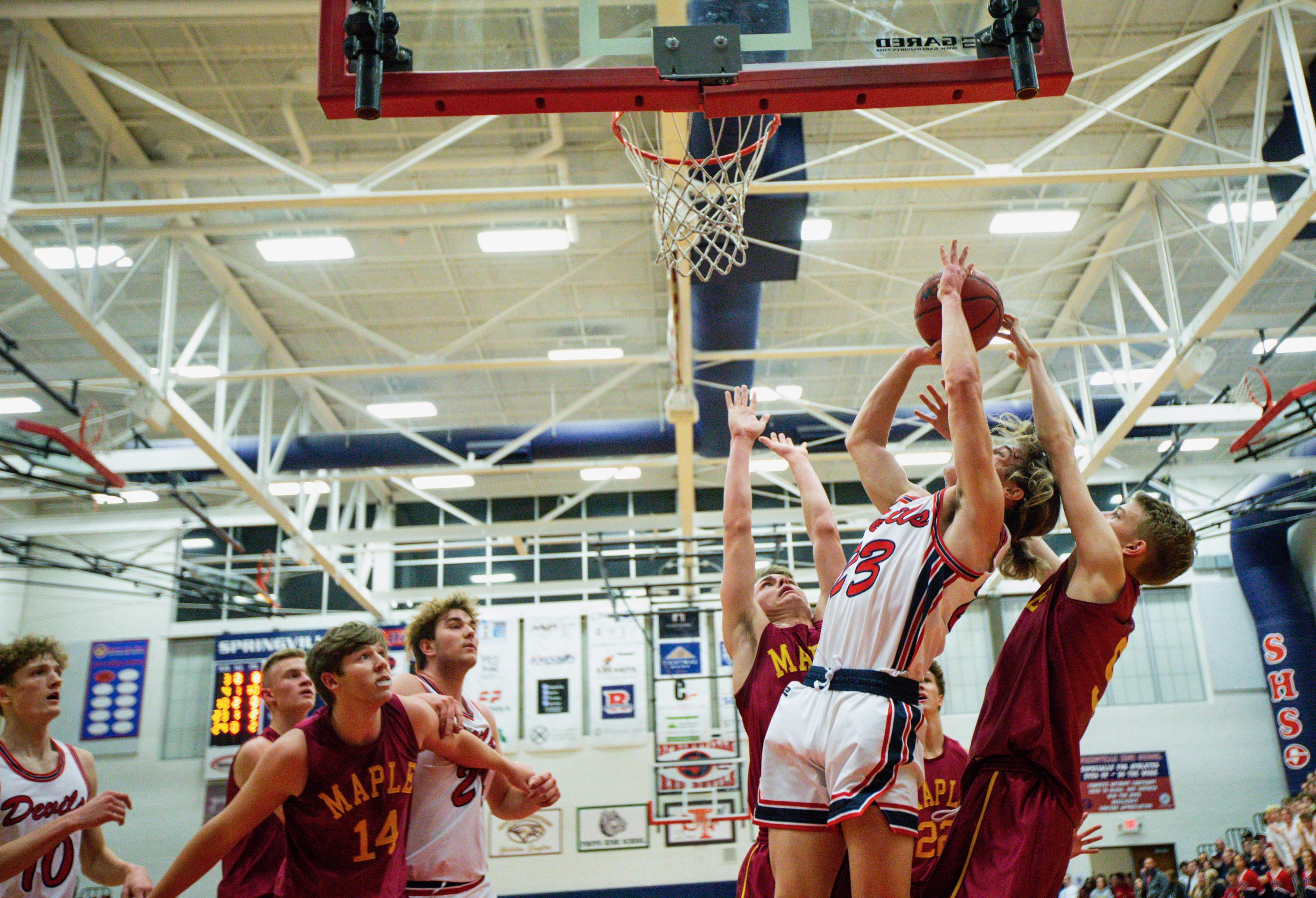 Red Devil senior guard Payton Murphy (23) attempts to score a basket at Springville High School in Springville on Friday, Jan. 24, 2020. The Springville Red Devils defeated the Maple Mountain Golden Eagles 54-36.