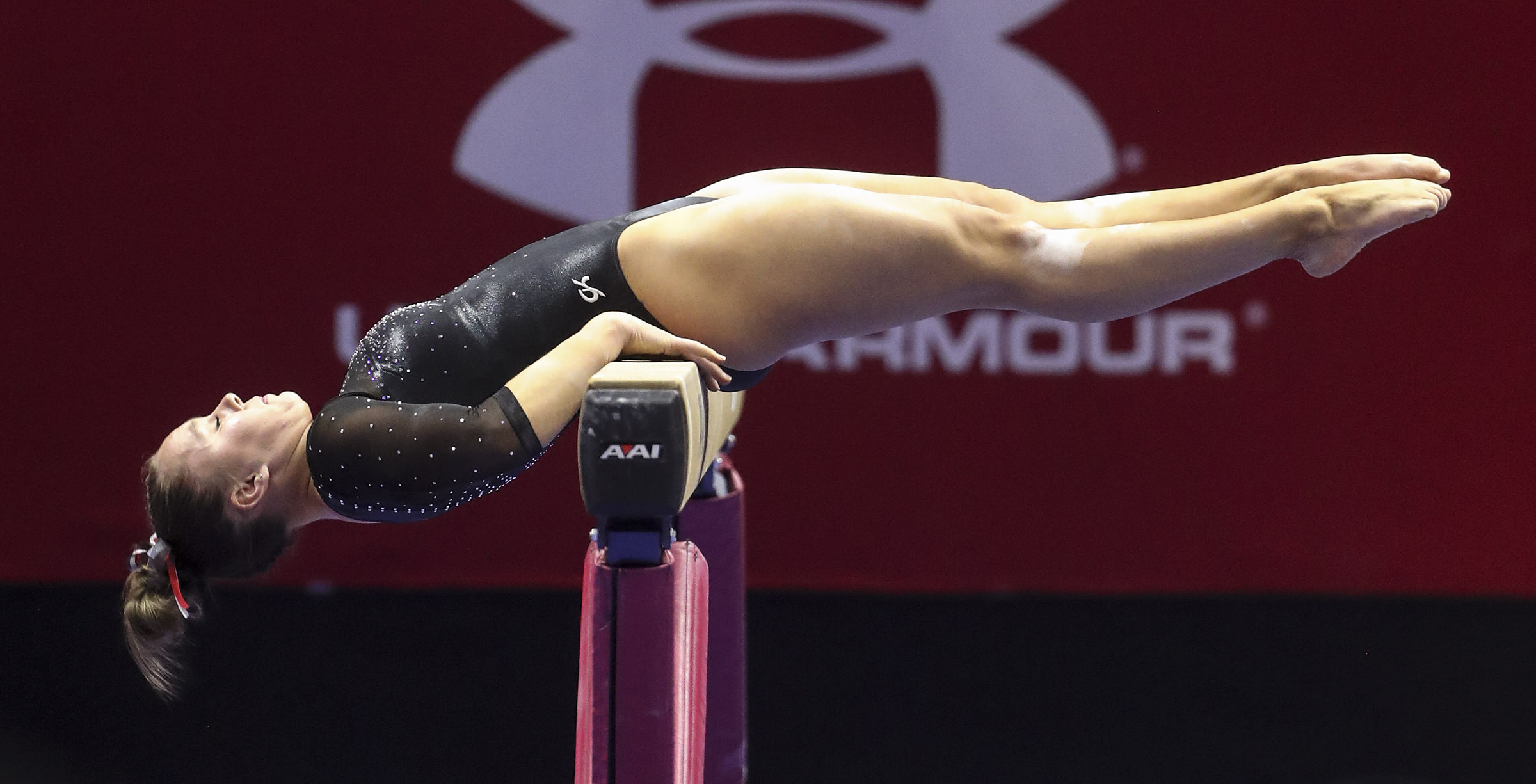 Utah's Maile O'Keefe balances on the beam during her mount in the Arizona State and University of Utah gymnastics meet at the Huntsman Center in Salt Lake City on Friday, Jan. 24, 2020.