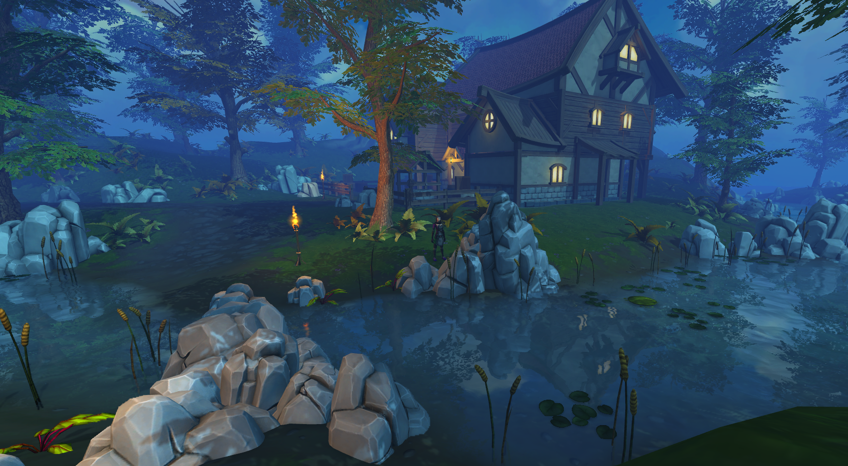 A house in the fantasy world of RuneScape, at night, beside a pond.