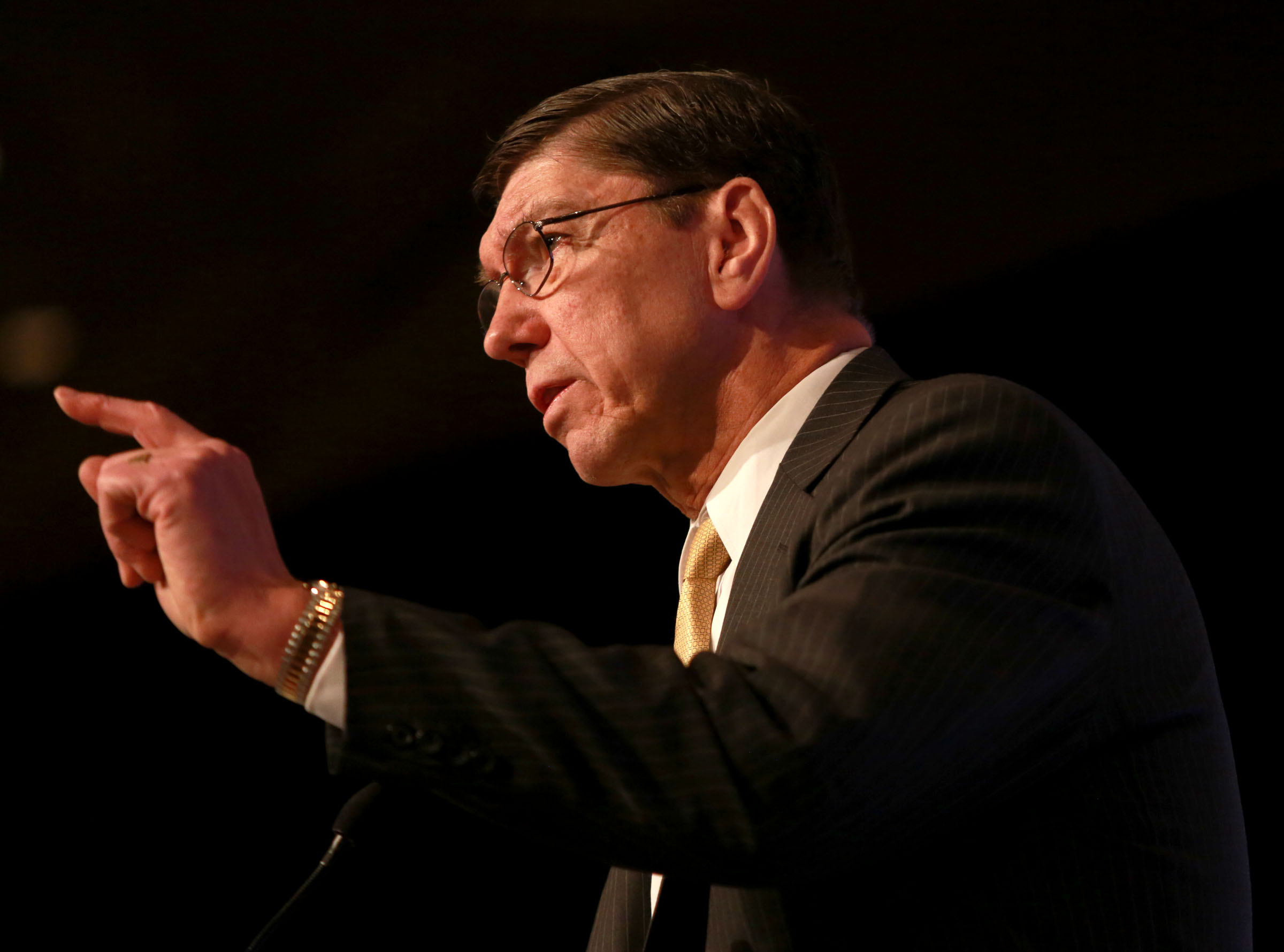 FILE - Clayton Christensen gives his keynote speech at the Governor's Utah Economic Summit at the Grand America Hotel in Salt Lake City on Thursday, April 3, 2014. Christensen died Jan. 23 at the age of 67.