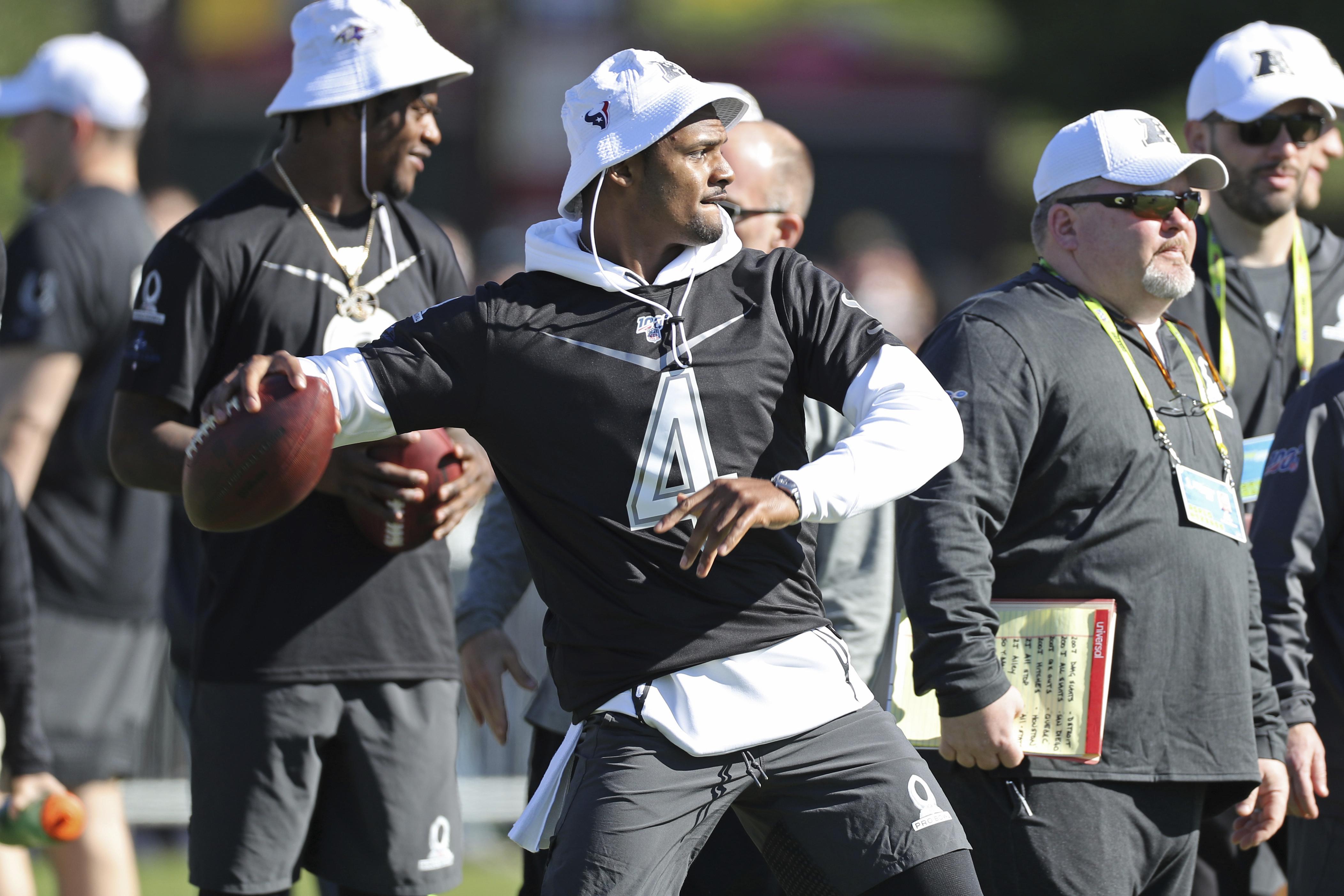 Texans quarterback Deshaun Watson throws a pass during Saturday's Pro Bowl practice.