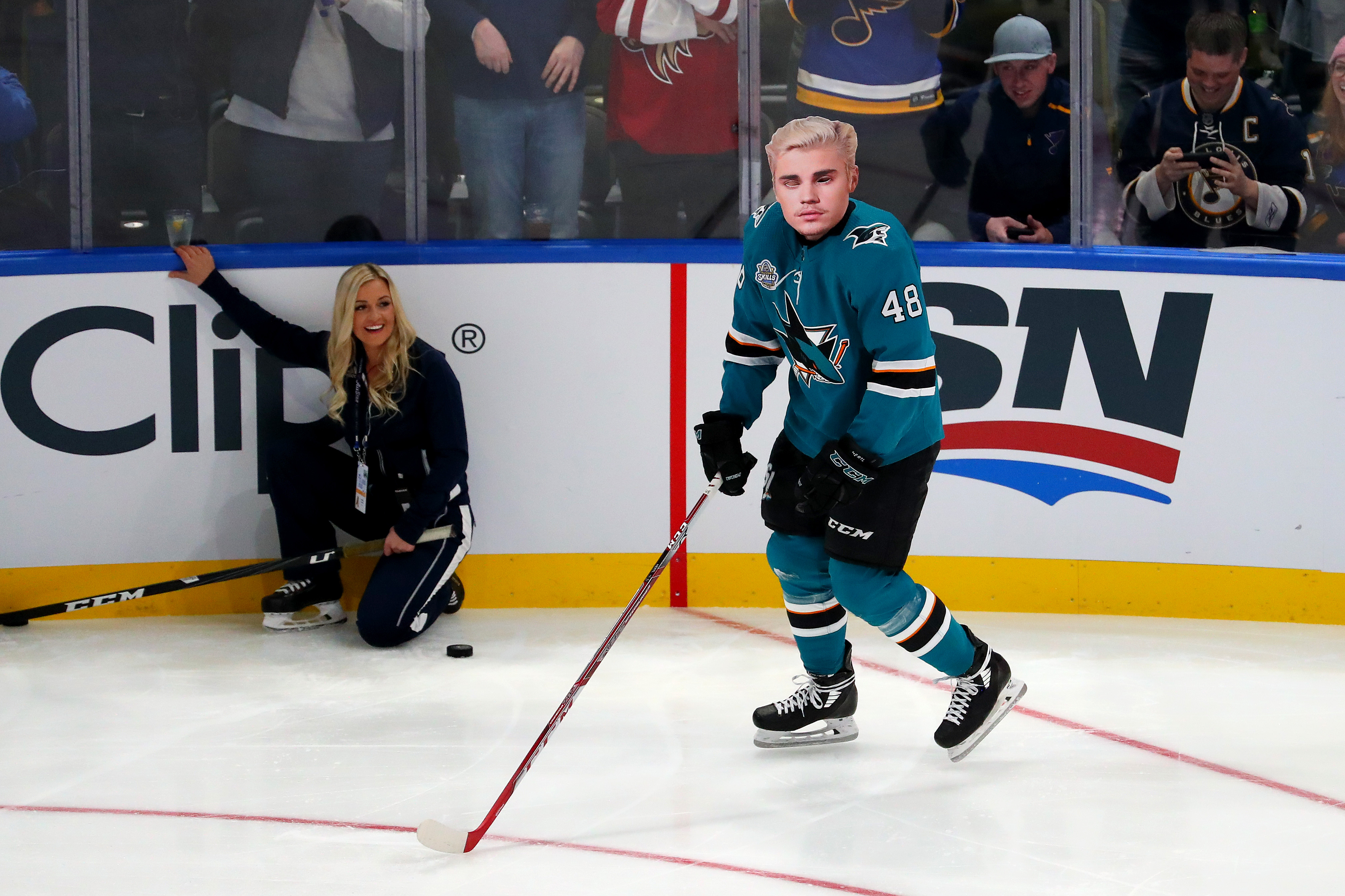 Tomas Hertl #48 of the San Jose Sharks skates with a Justin Bieber mask in the Bud Light NHL Save Streak during the 2020 NHL All-Star Skills Competition at Enterprise Center on January 24, 2020 in St Louis, Missouri.