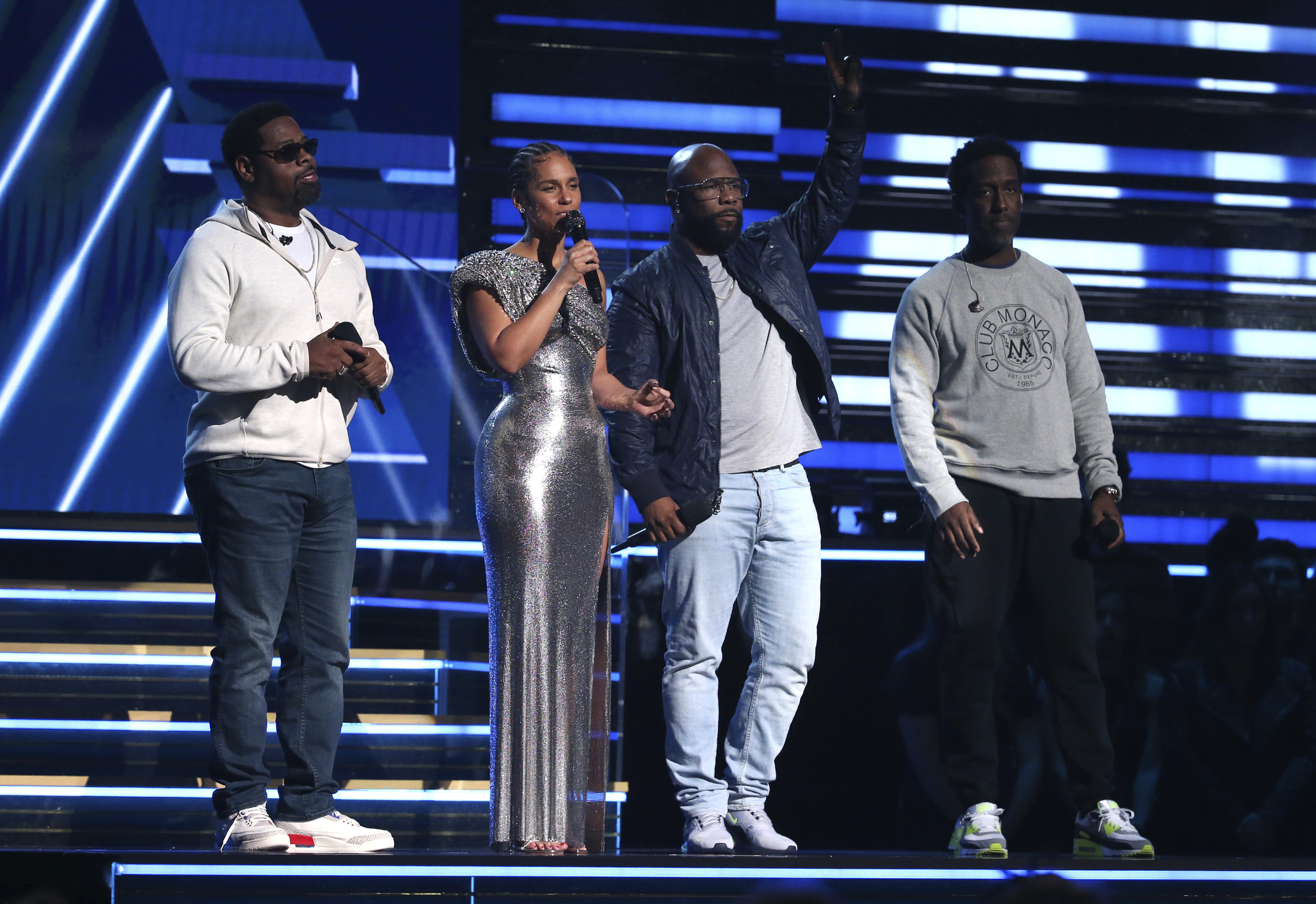 Nathan Morris (from left)Wanya Morris and Shawn Stockman of Boyz II Men join Alicia Keys to sing a tribute in honor of the late Kobe Bryant at the 62nd annual Grammy Awards on Sunday night in Los Angeles.