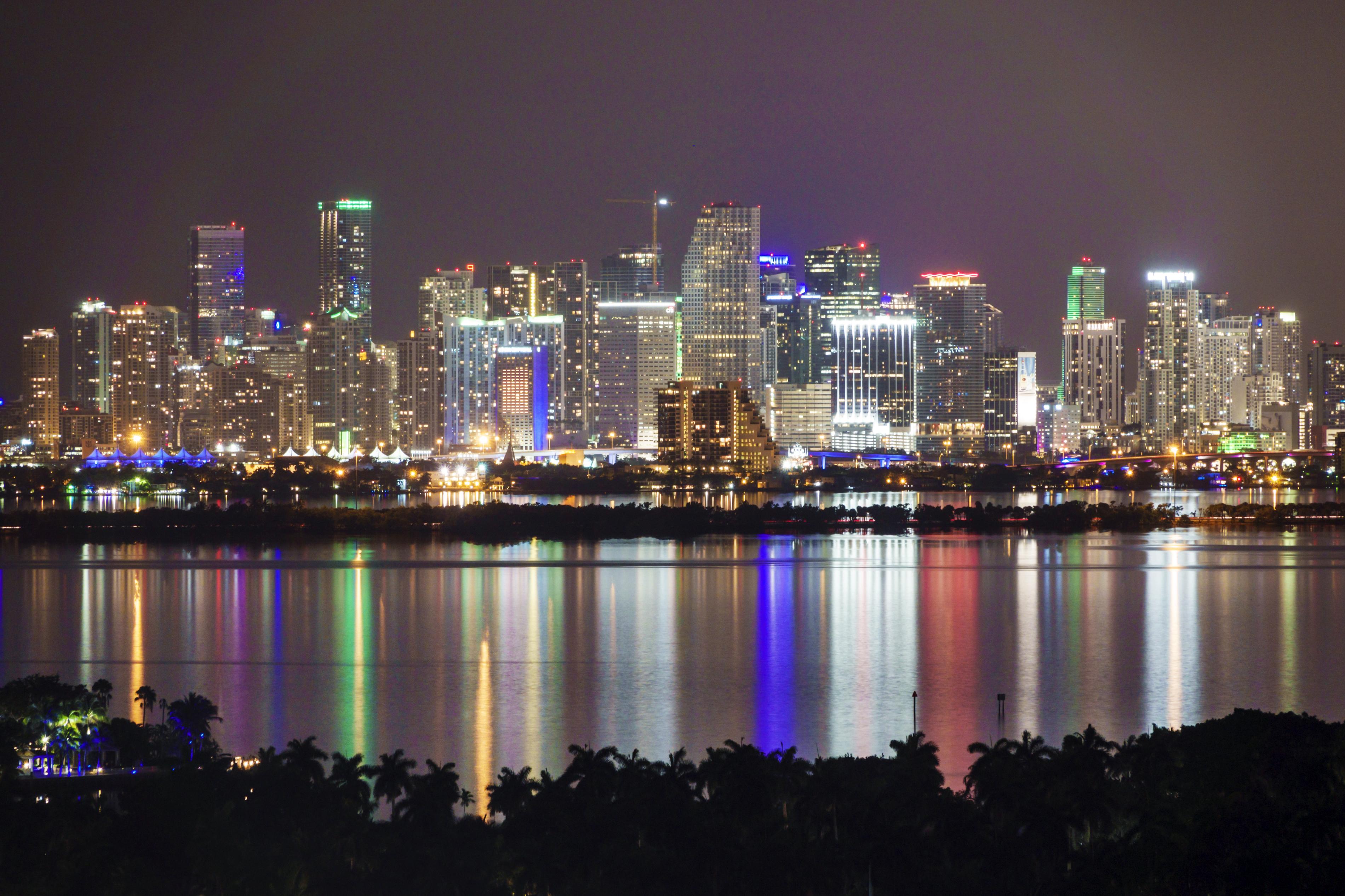 Miami, Biscayne Bay, night skyline