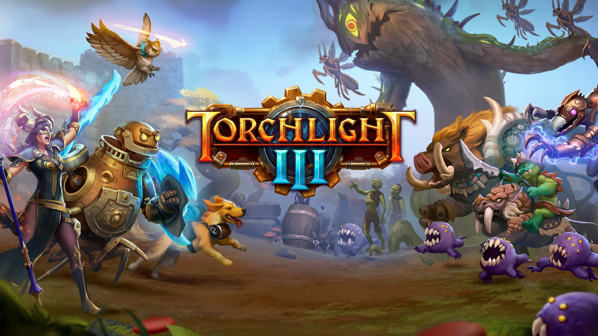 Key art for Torchlight 3, including the game's logo and fantasy creatures and humans converging in battle