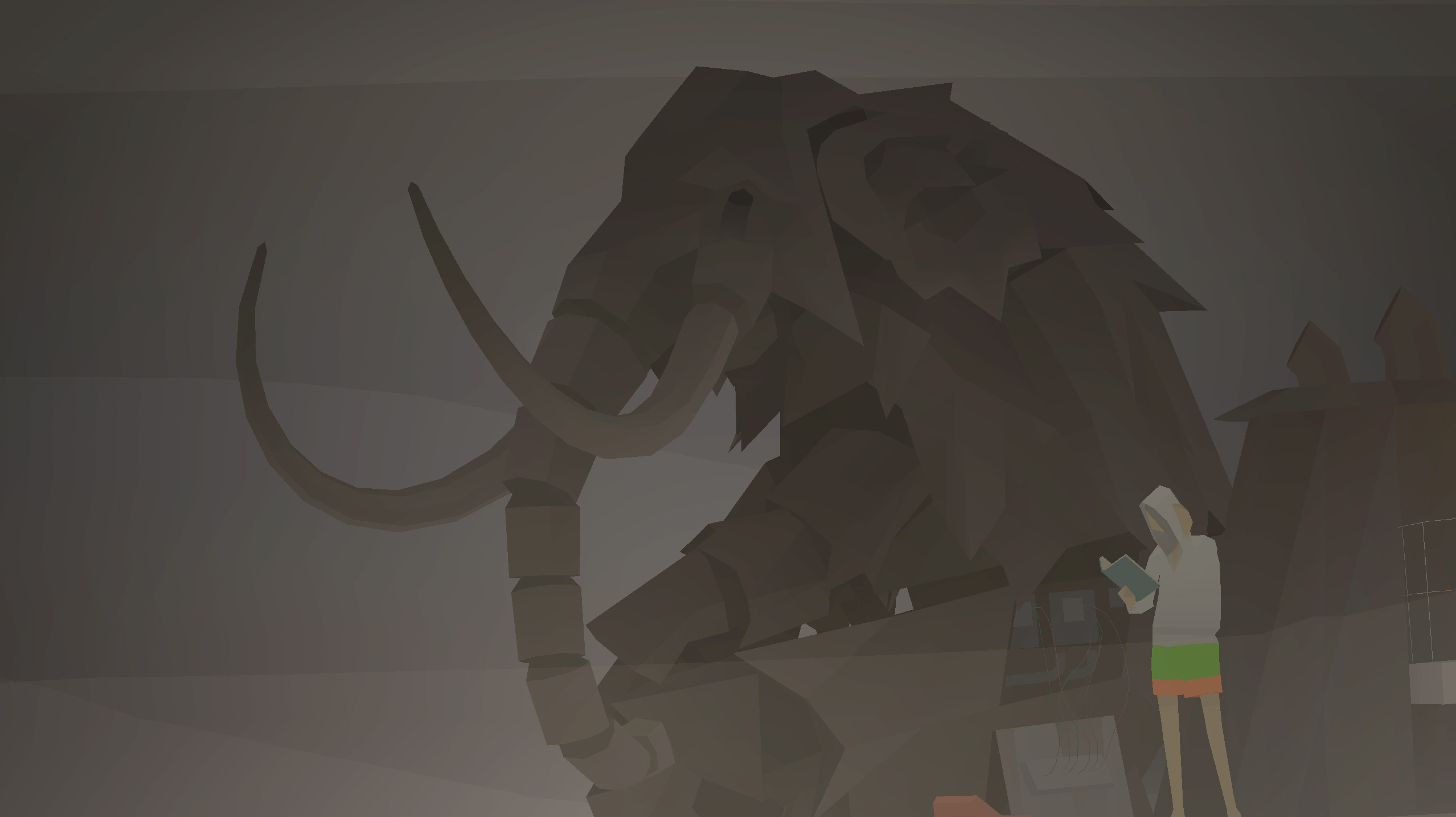 A mammoth and a man standing on a tugboat in Kentucky Route Zero