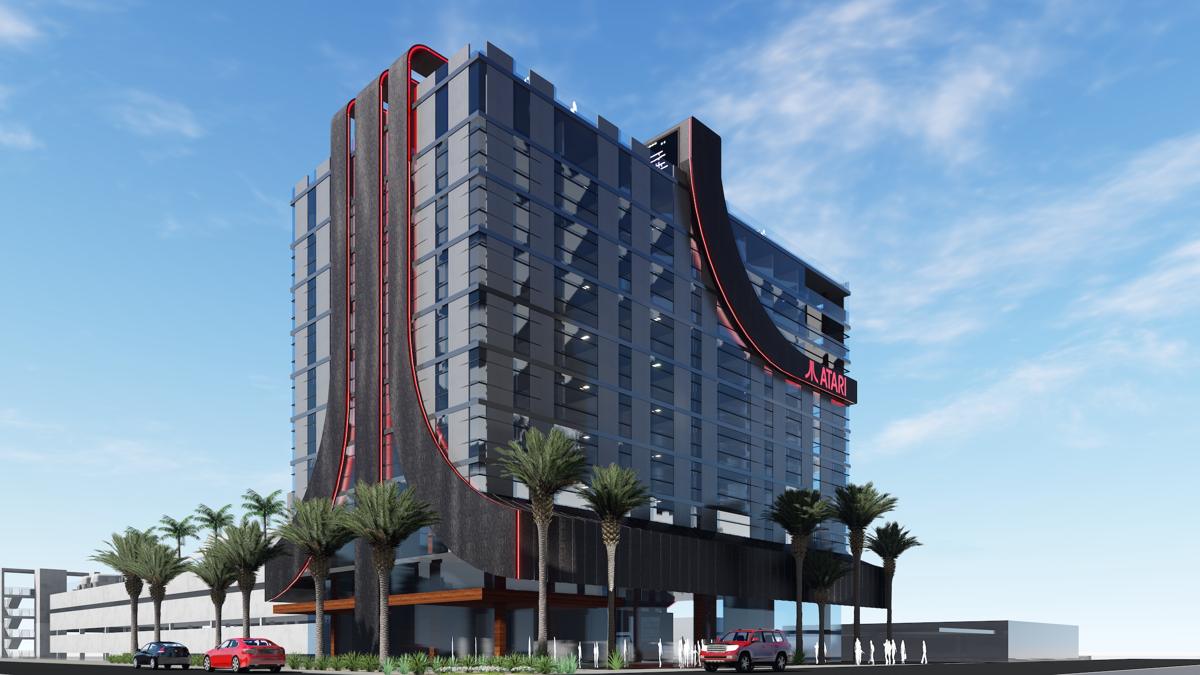 A render of the Atari Hotel against a blue sky