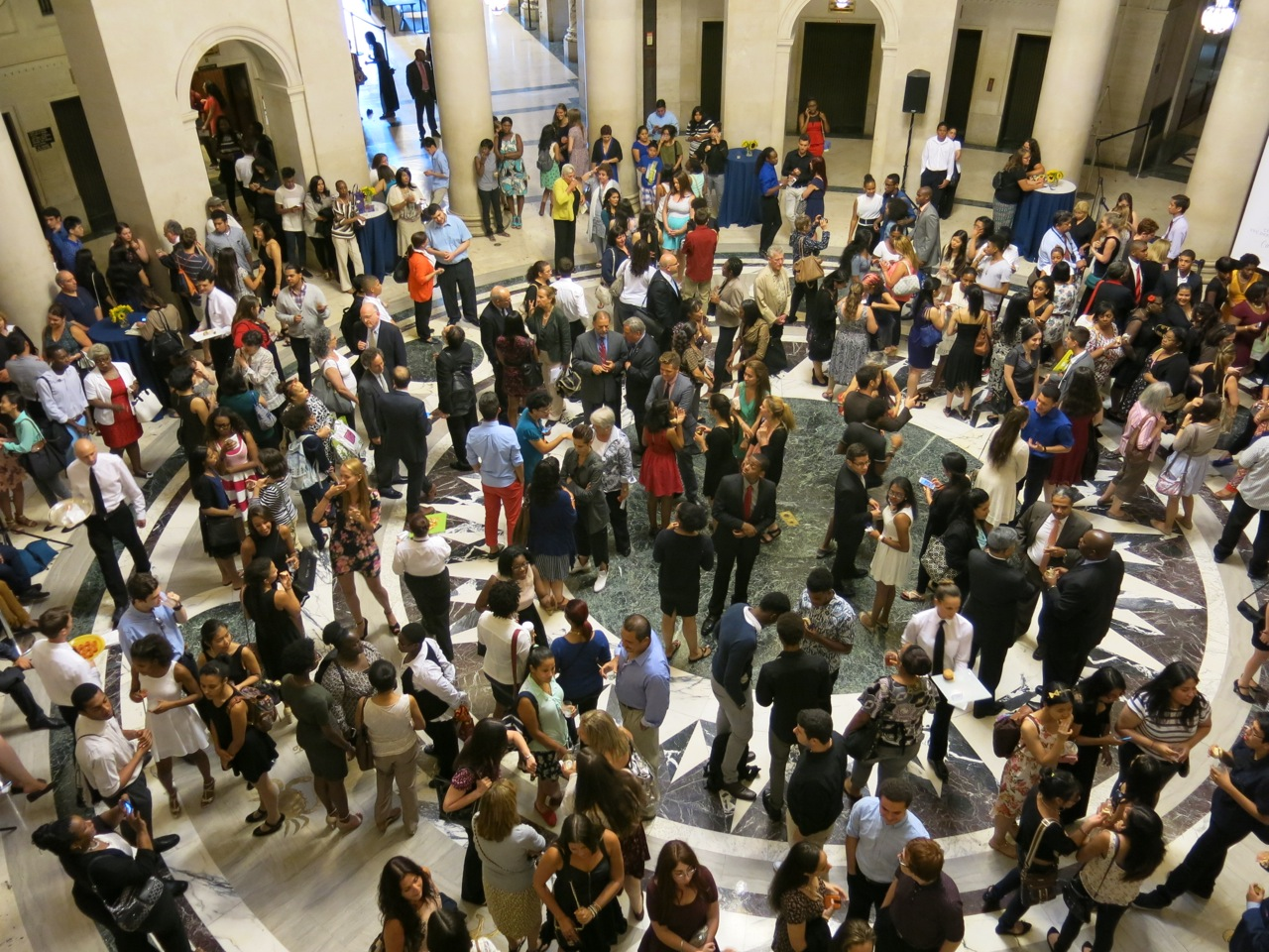 Recipients of the Chancellor's Arts Endorsed Diploma gather at the New York Supreme Courthouse.