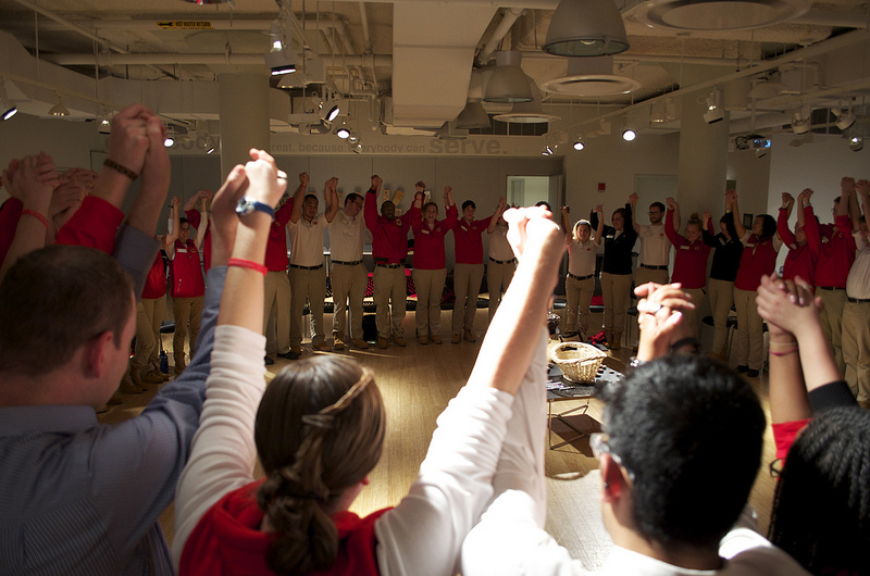 City Year volunteers participate in a group training as part of their preparation for working with students in urban, high-poverty communities.