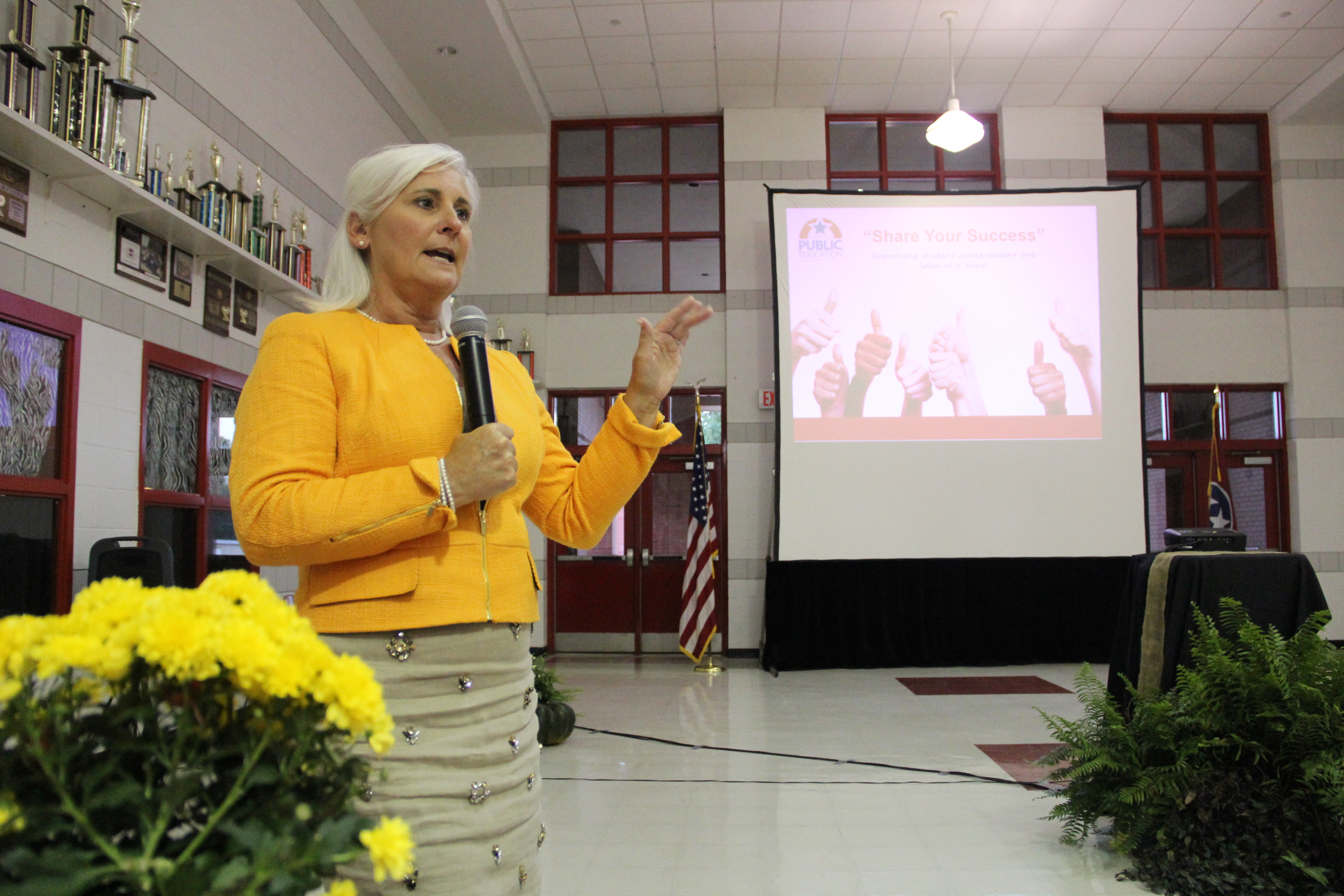 Tammy Grissom, executive director of the Tennessee School Boards Association,  outlines the Tennessee Digital Learning Project to regional school leaders Monday evening at Brighton High School in Tipton County.