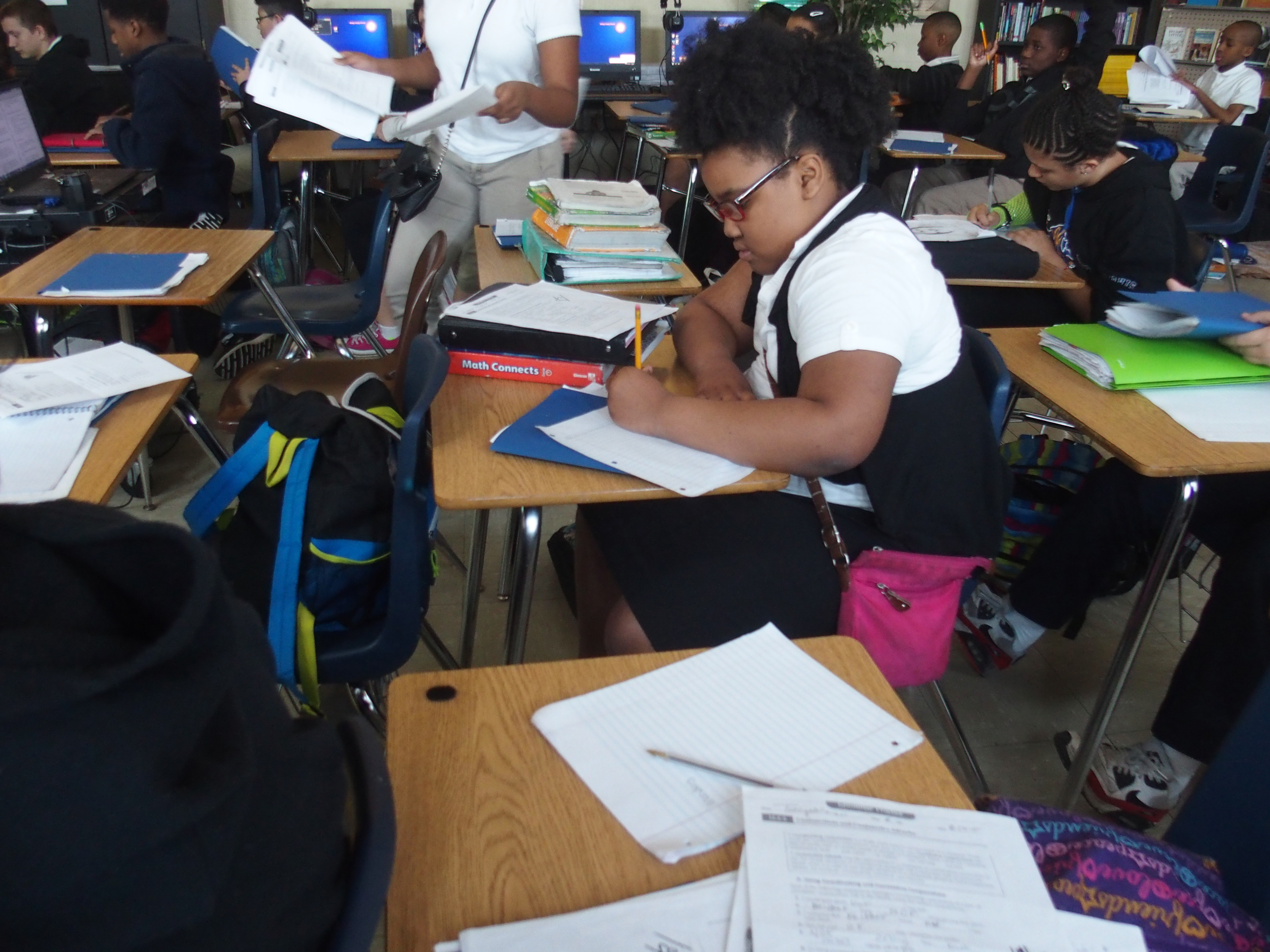A student prepares for an exam at Treadwell Middle School in Memphis.
