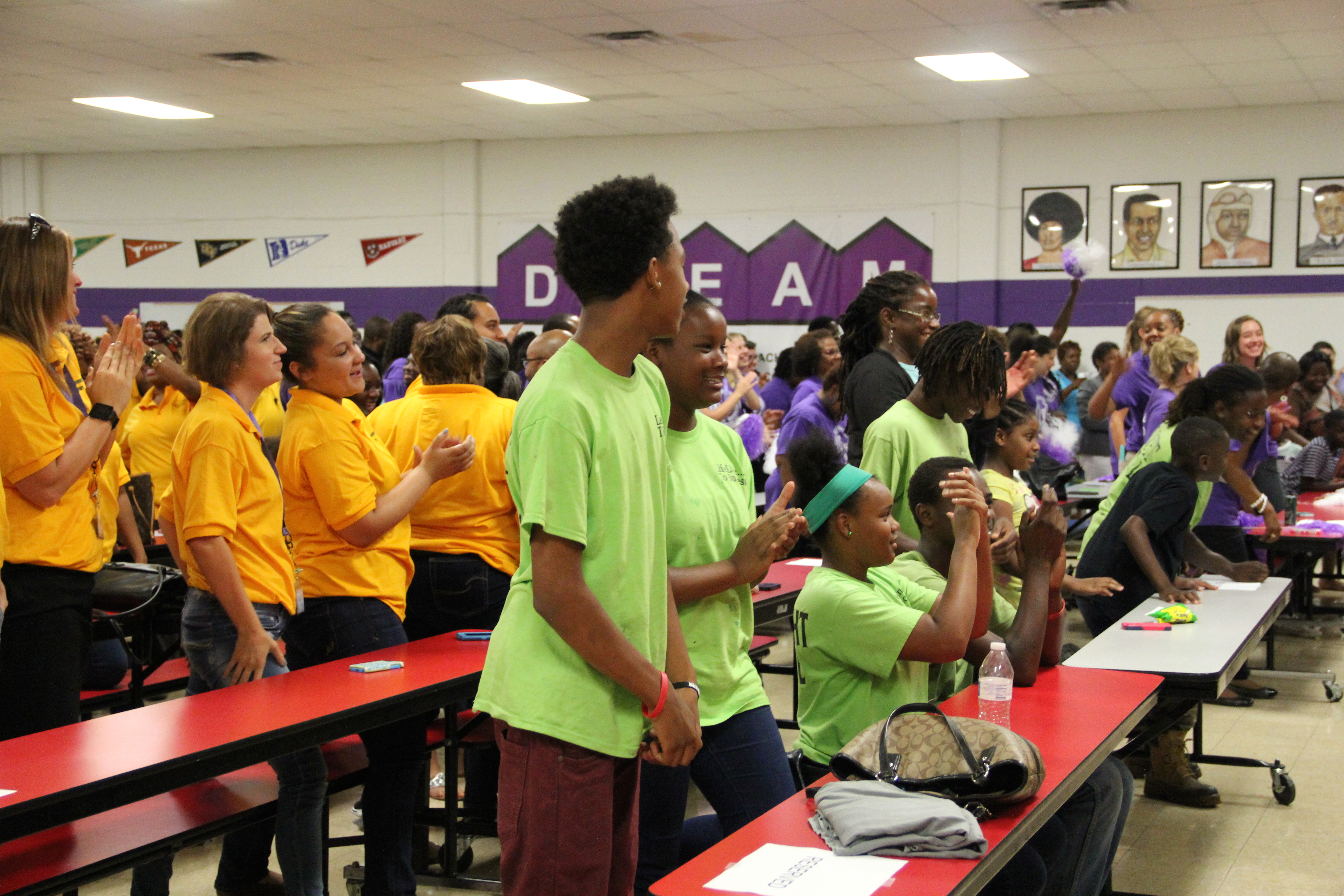 Achievement Schools student and faculty celebrate state test results from the 2014-15 school year at a rally in July in Memphis. .