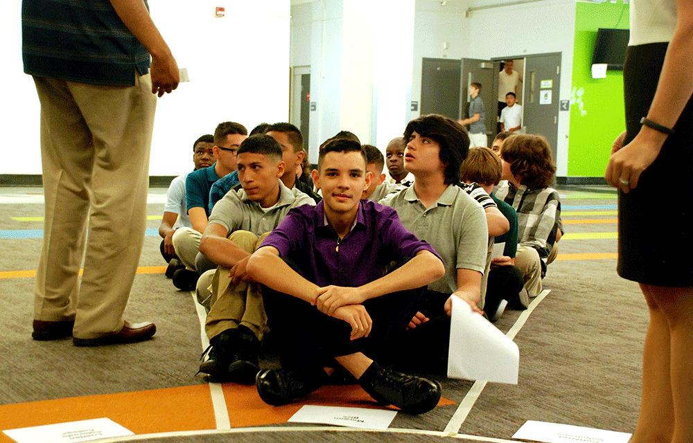 DSST: Cole High School freshman Jayr Cardenas is the first to arrive for the school's morning meeting.