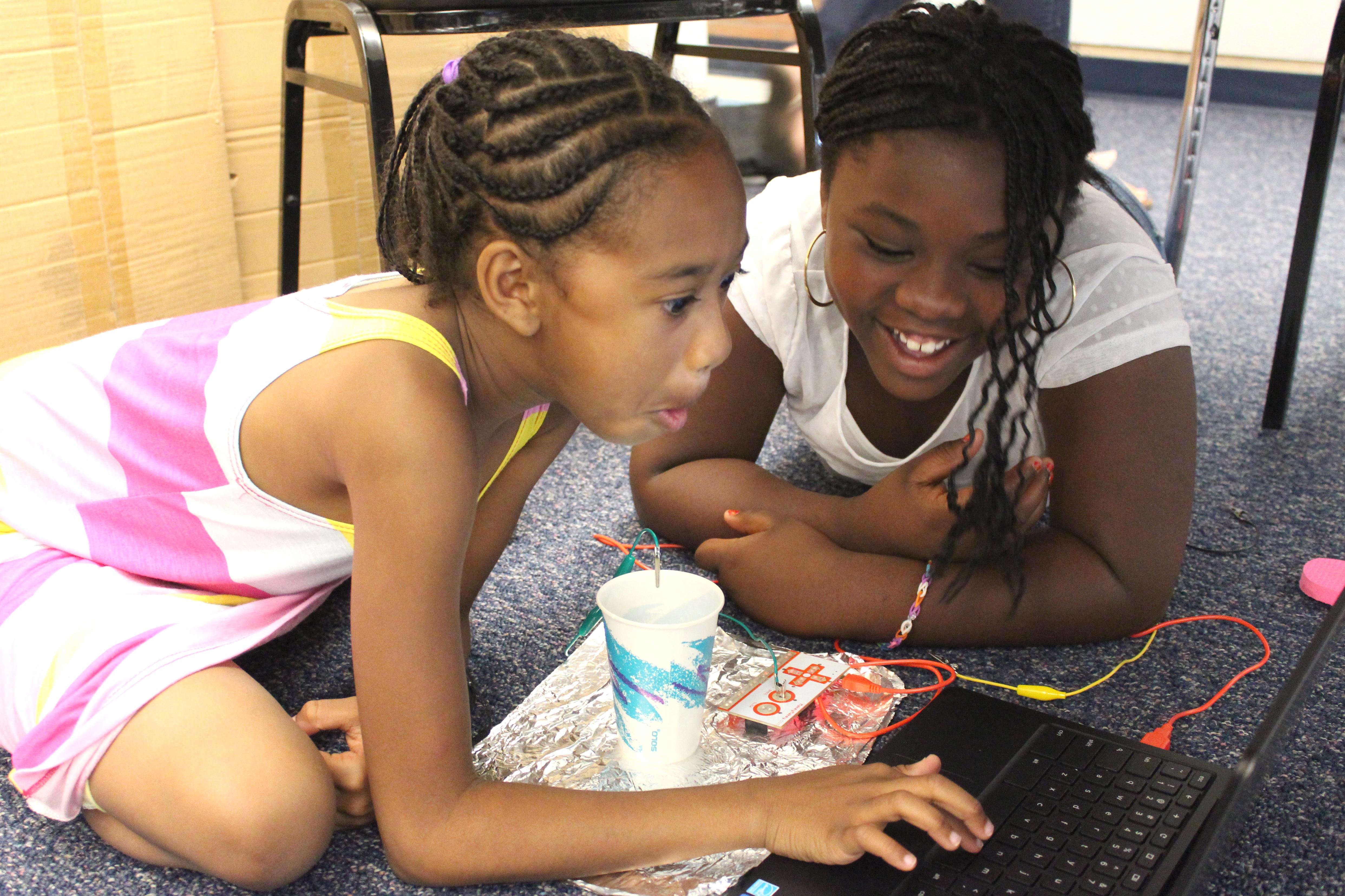 Students Maliah and Kayla at the Imaginarium's Summer Lab camp at Columbine Elementary School.