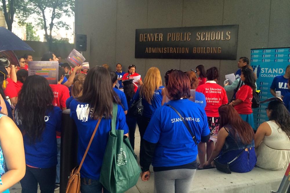 Southwest Denver parents and students rallied outside Denver Public Schools' headquarters Thursday night demanding better schools.