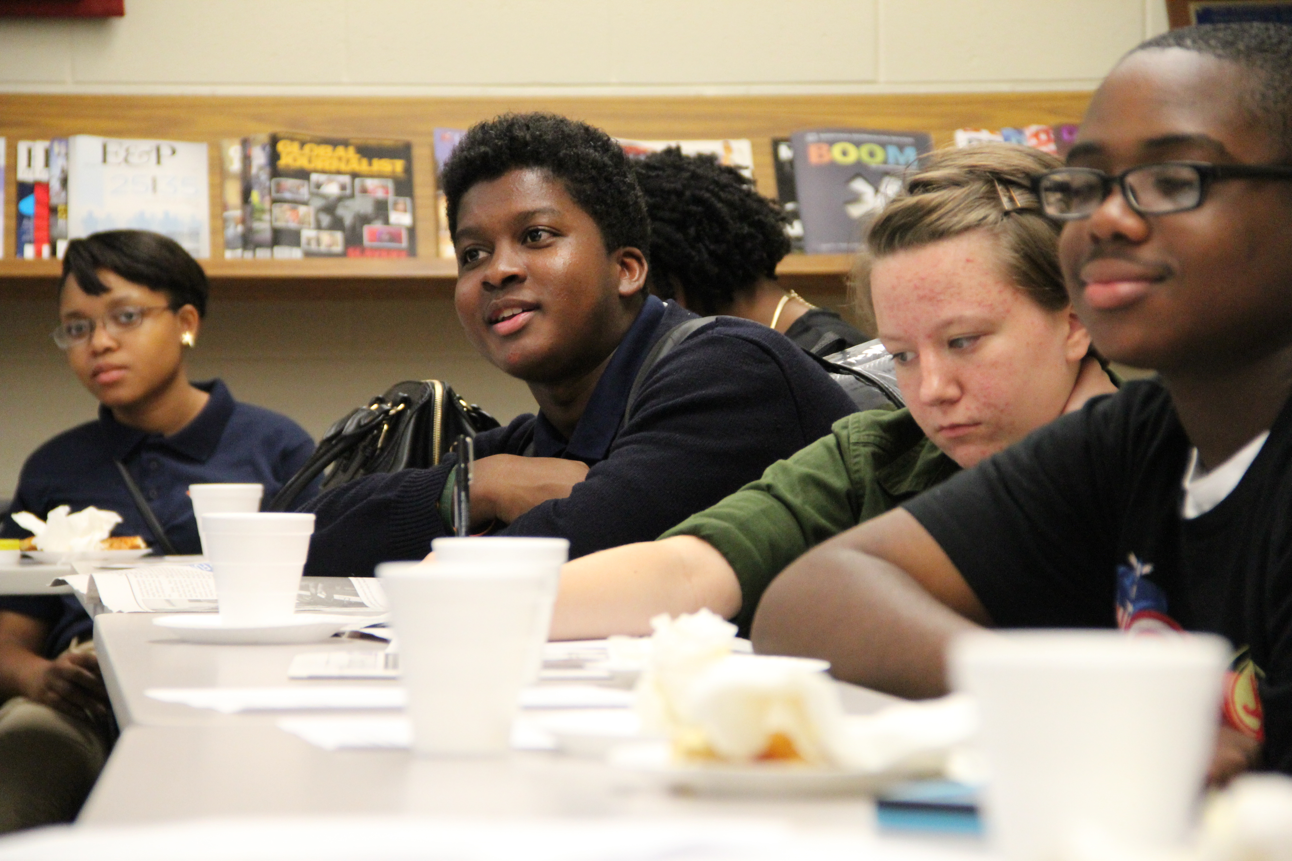 Students meet for their monthly editorial meeting on the University of Memphis campus.