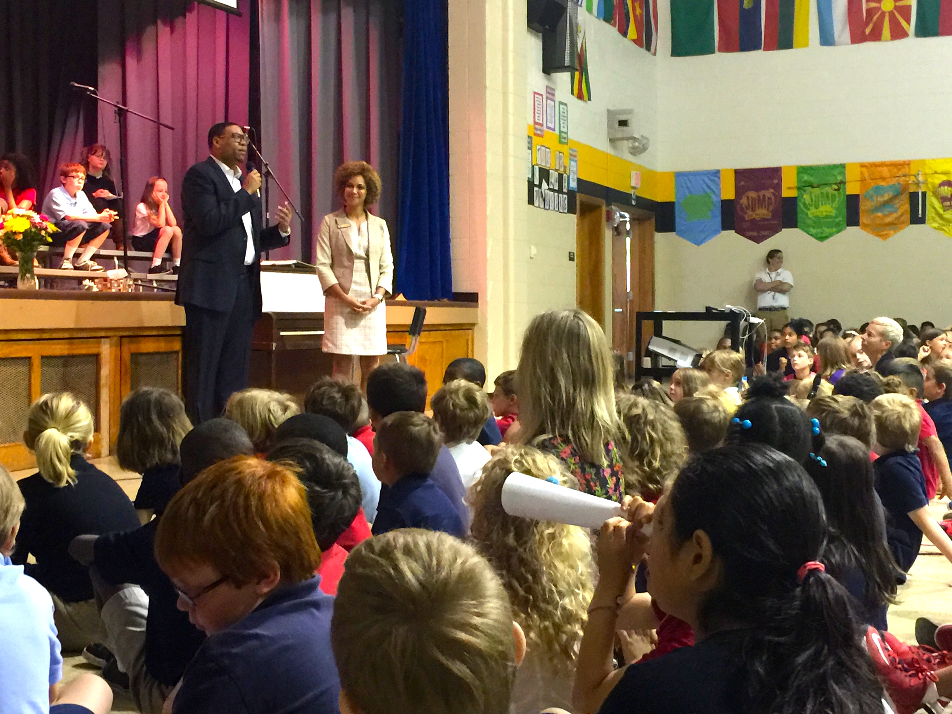 IPS Superintendent and Principal Andrea Hunley at the teacher of the year announcement at School 2 in June.